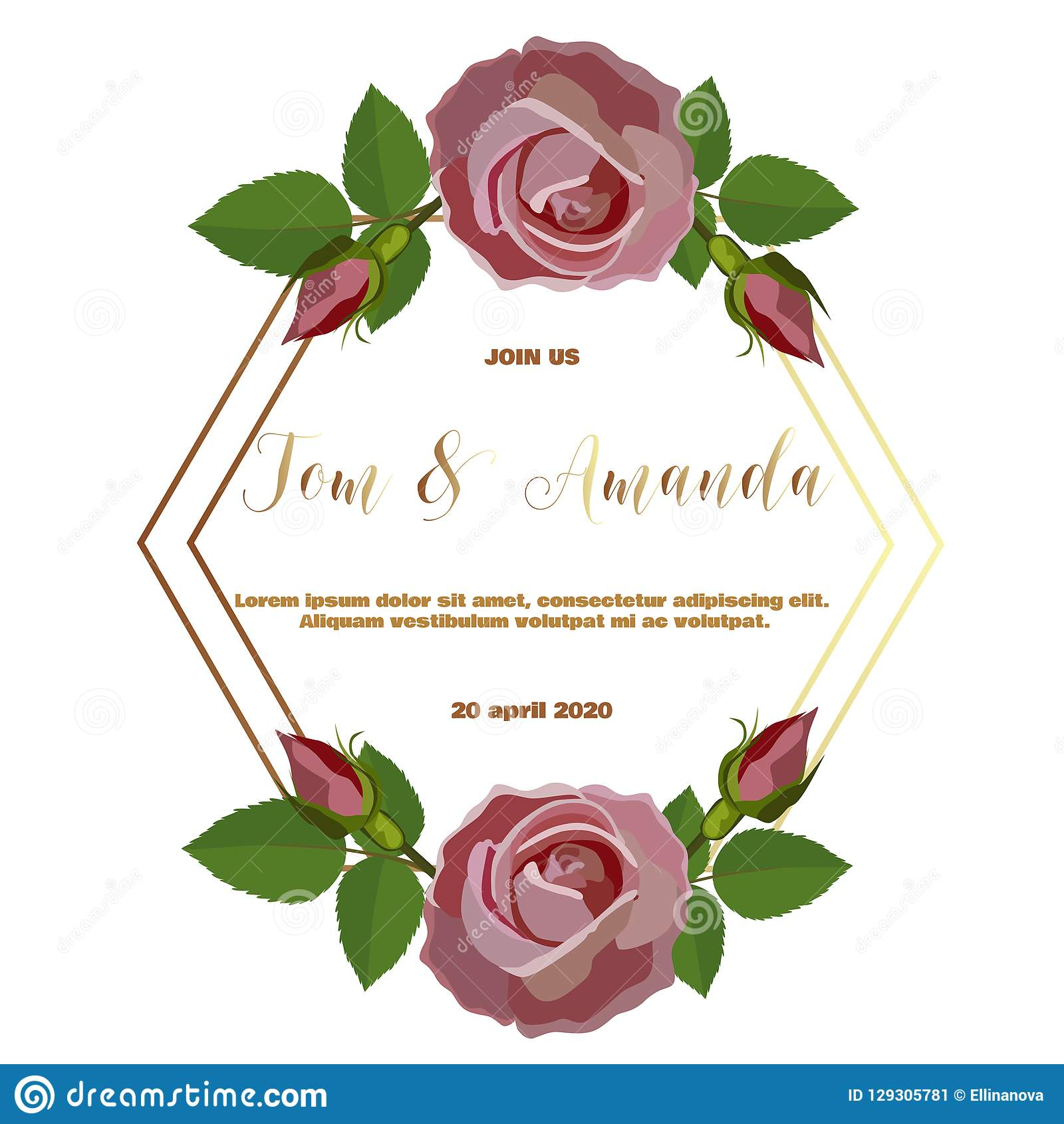 Floral Wedding Invitation Template With Rose And Leaf Stock Vector ...