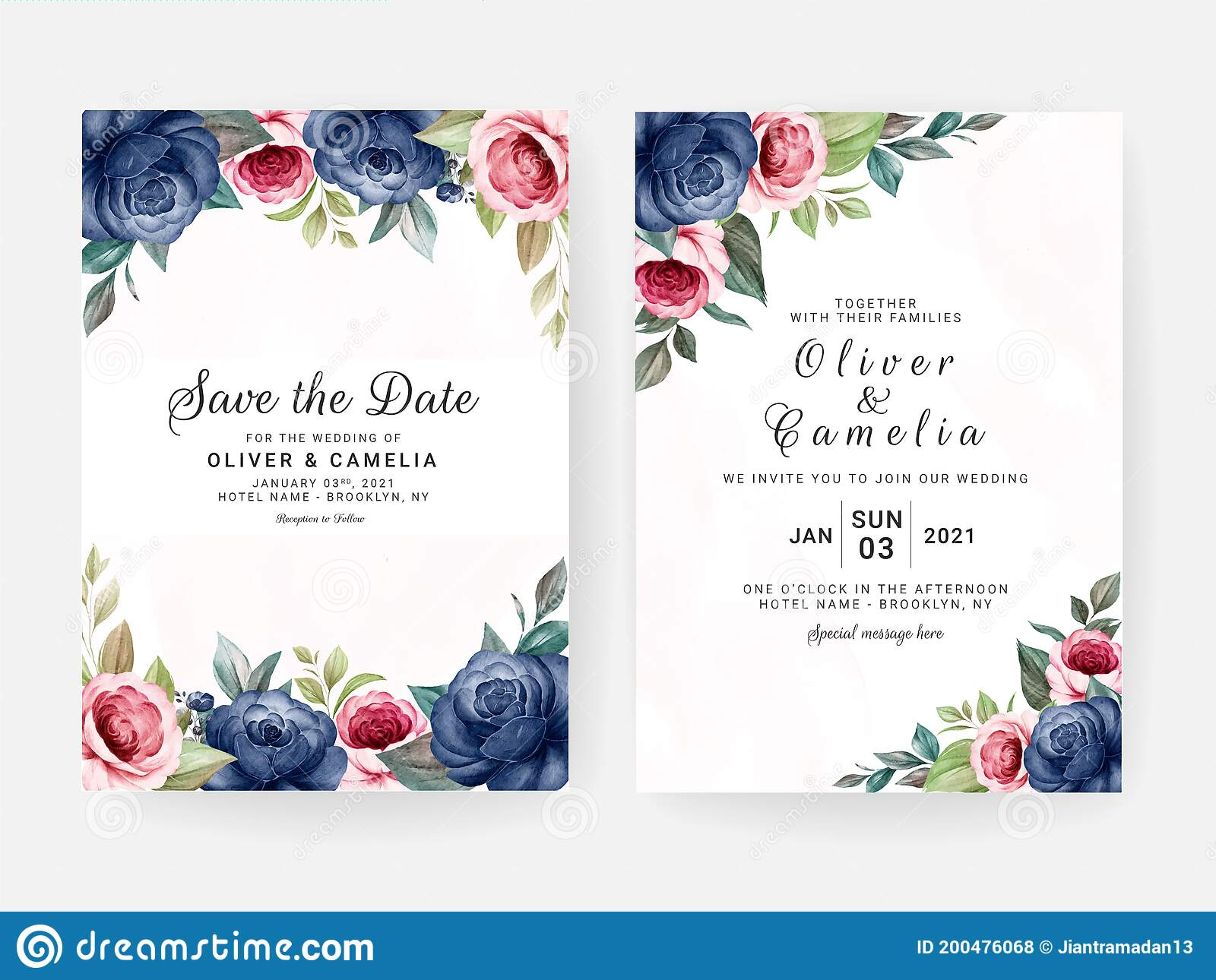 Floral Wedding Invitation Template Set With Blue And Brown Roses Flowers  And Leaves Decoration. Botanic Card Design Concept Stock Vector -  Illustration of abstract, elegant: 200476068