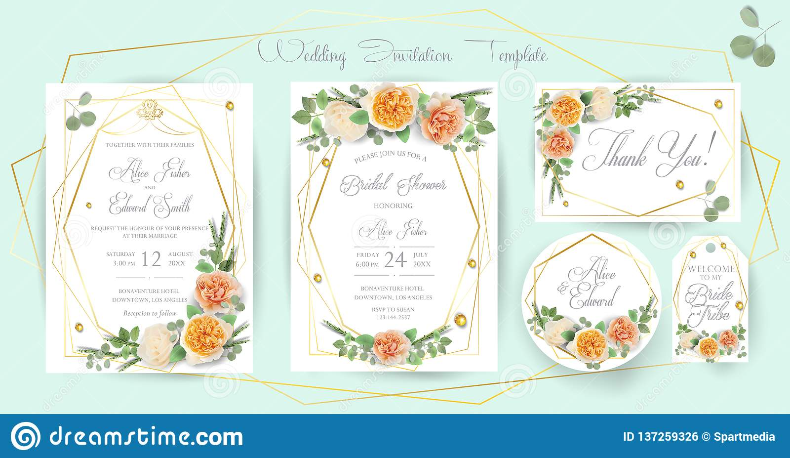 Floral Wedding Invitation, Thank You, Rsvp, Save The Date
