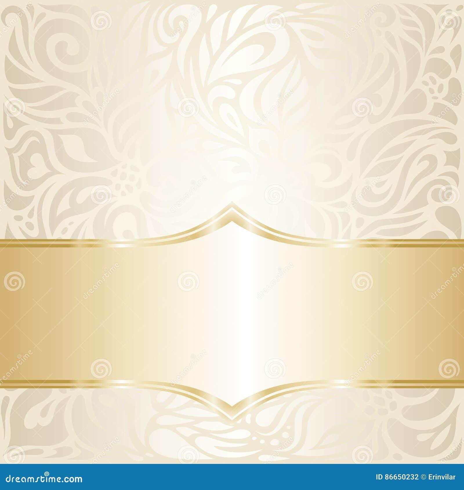 Floral Wedding Invitation Wallpaper Design In Ecru Royalty Free Vector Download