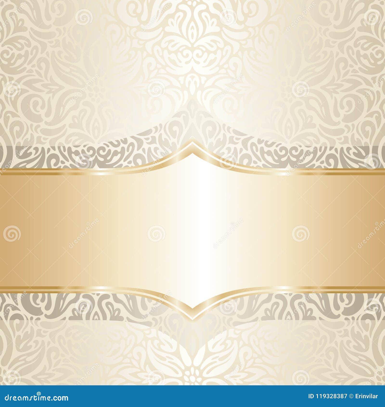 Floral Wedding Invitation Wallpaper Trend Design In Ecru & Gold ...