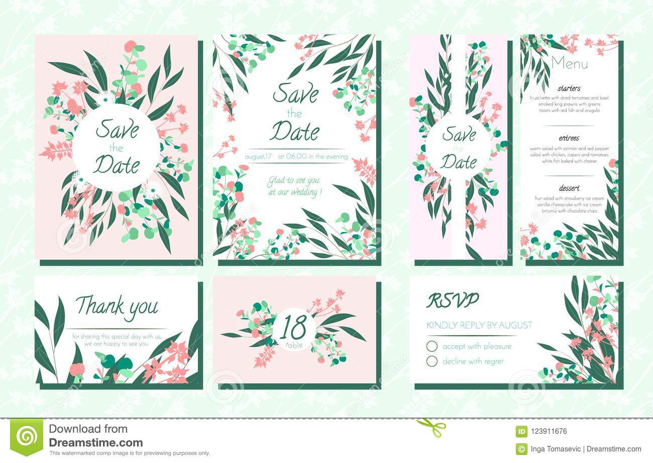 invite templates set with eucalyptus stock vector illustration of