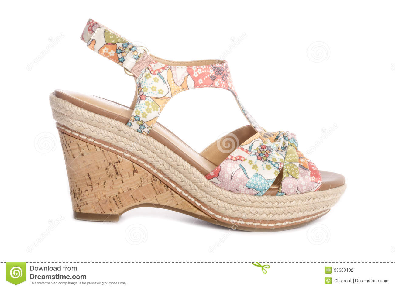 e199283b65ac4d Floral Wedge Sandals  6 stock photo. Image of floral - 39680182