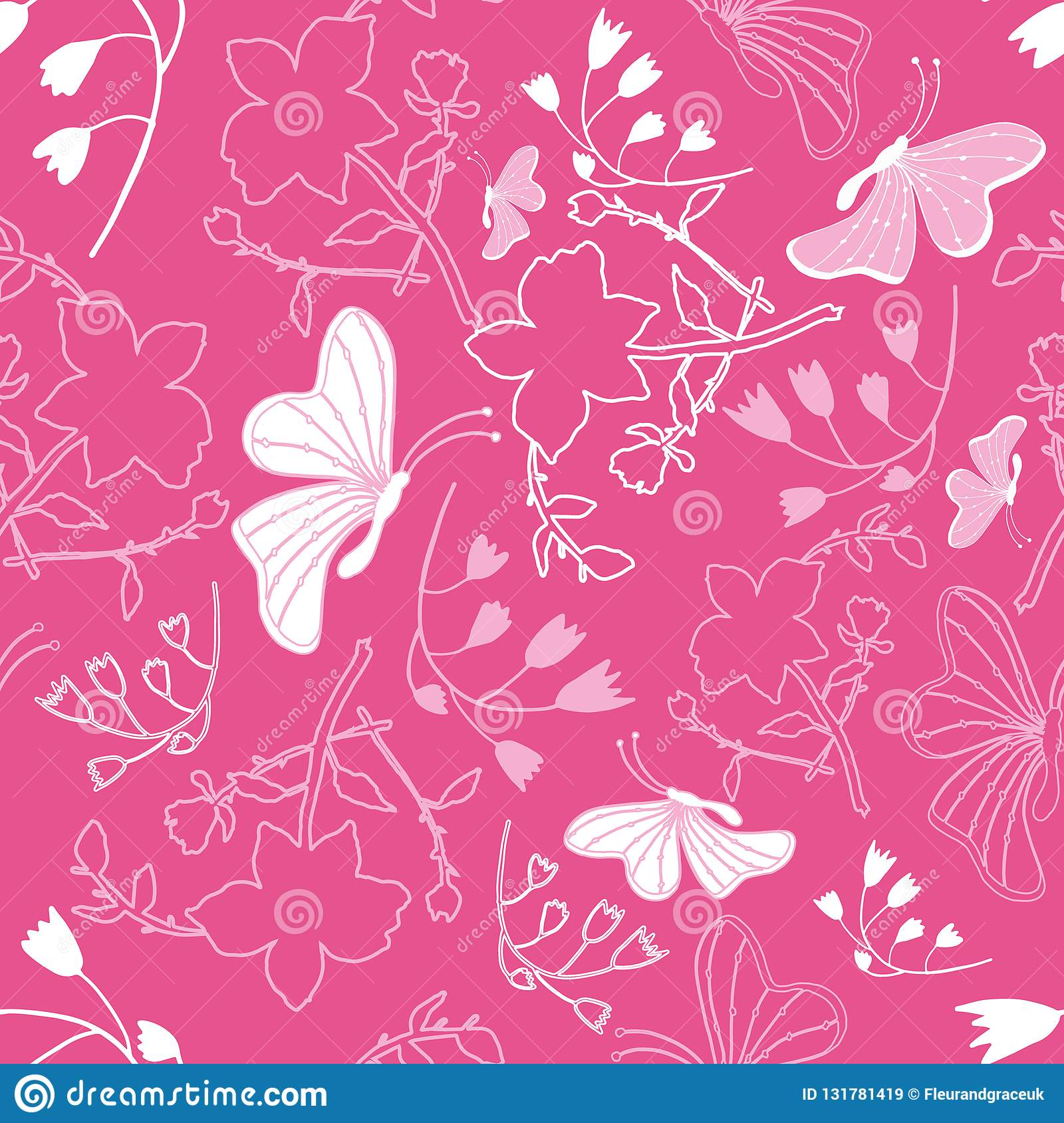 Floral White Butterflies Background Pattern Stock Vector