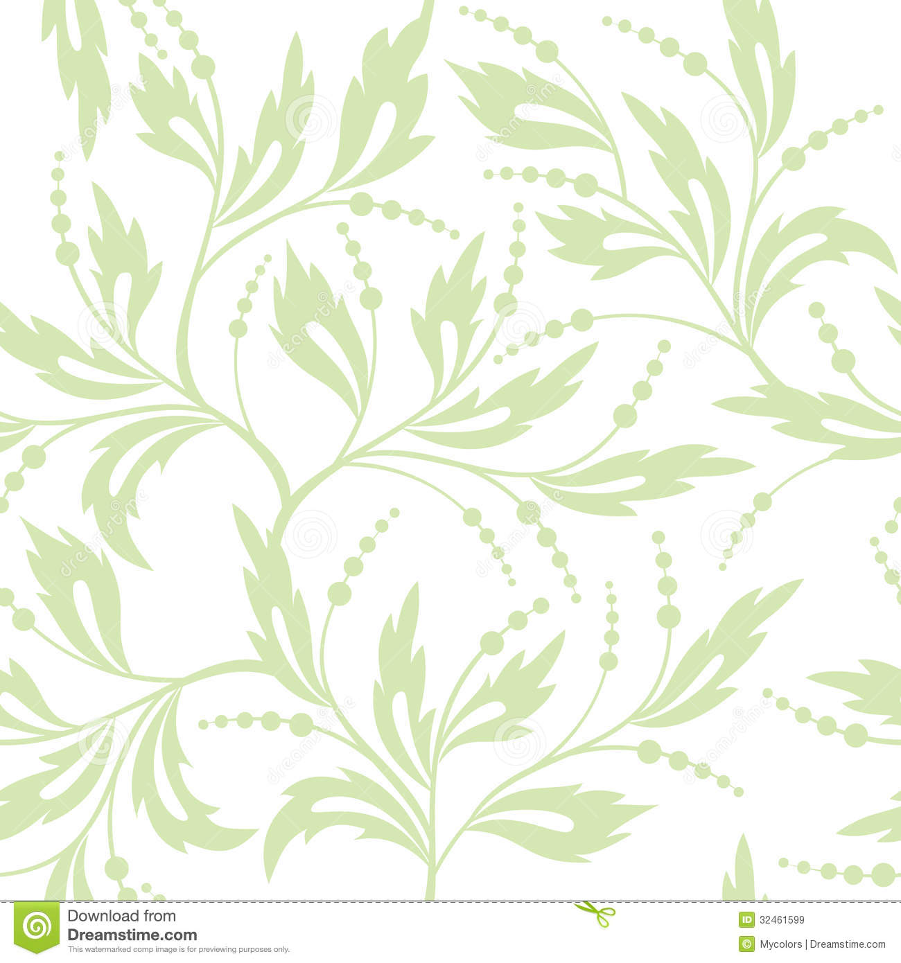 Floral White And Light Green Seamless Pattern Stock Vector ...