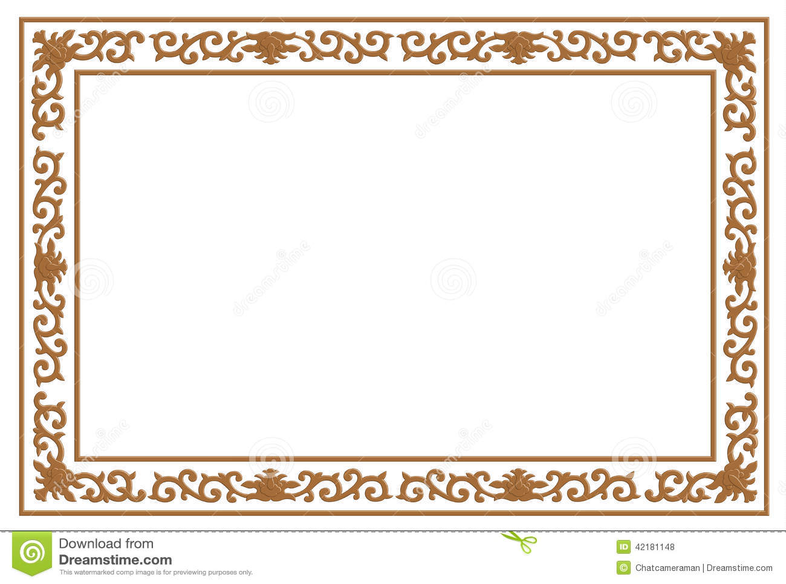 Floral wood carving border stock illustration ...