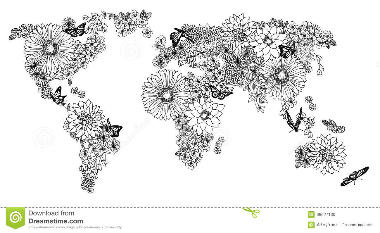 Floral world map for coloring books illustration 66627130 megapixl gumiabroncs Image collections