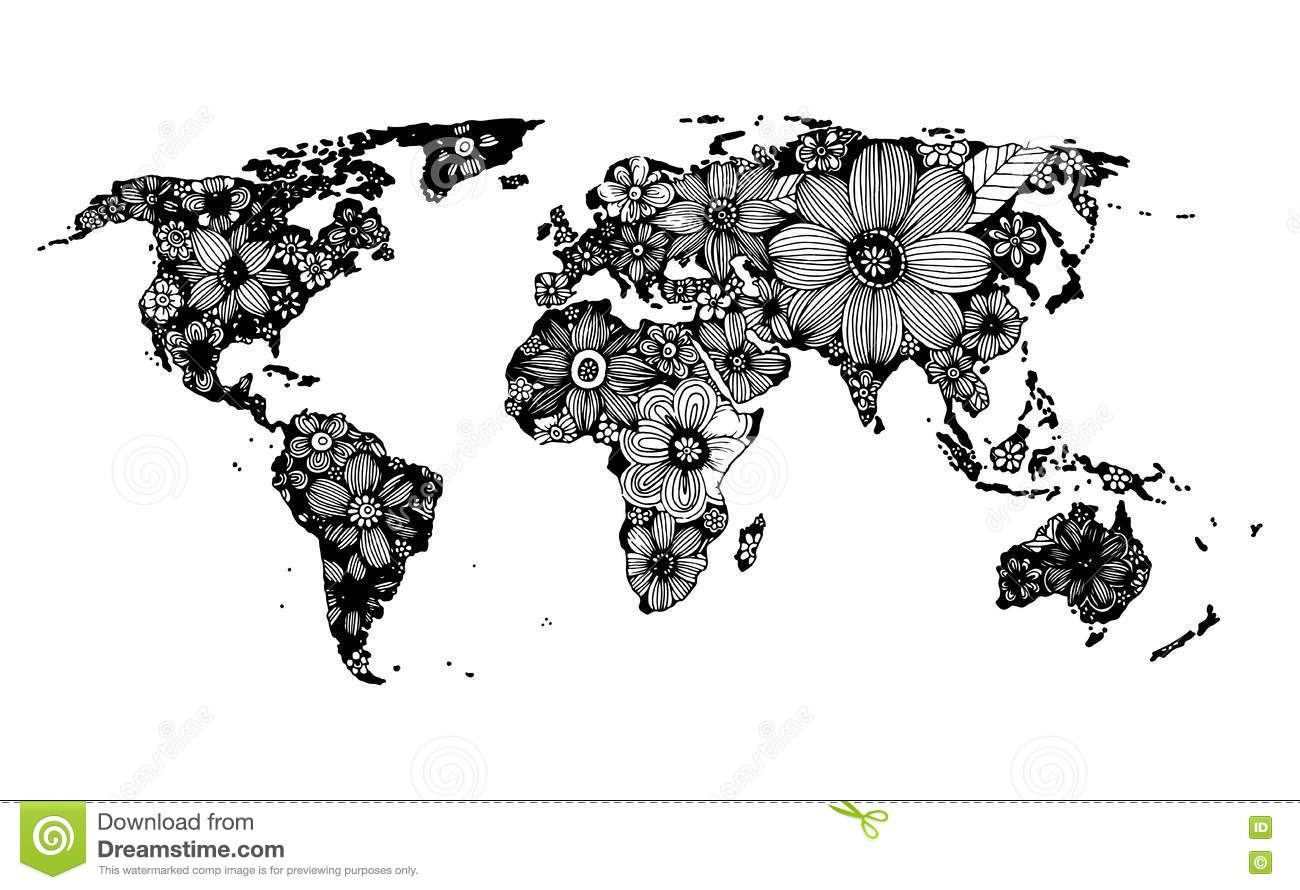 Floral World Map, Hand Drawn, Black And White Doodle Stock Vector ...