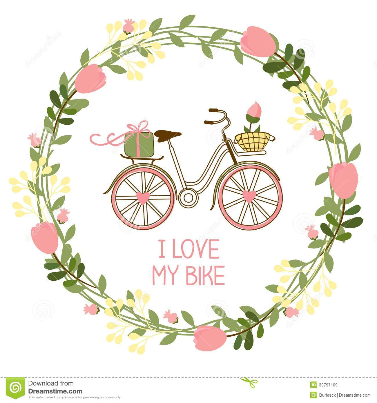 floral wreath and bike stock vector illustration of garden 39797109. Black Bedroom Furniture Sets. Home Design Ideas