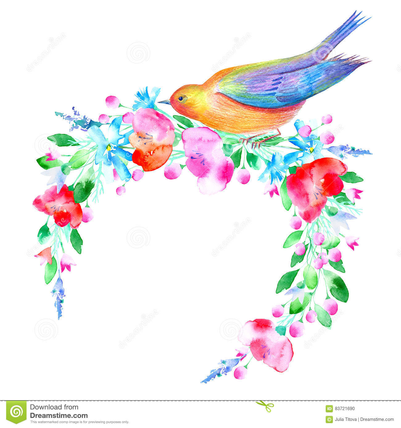 Floral Wreath And Bird. Stock Illustration