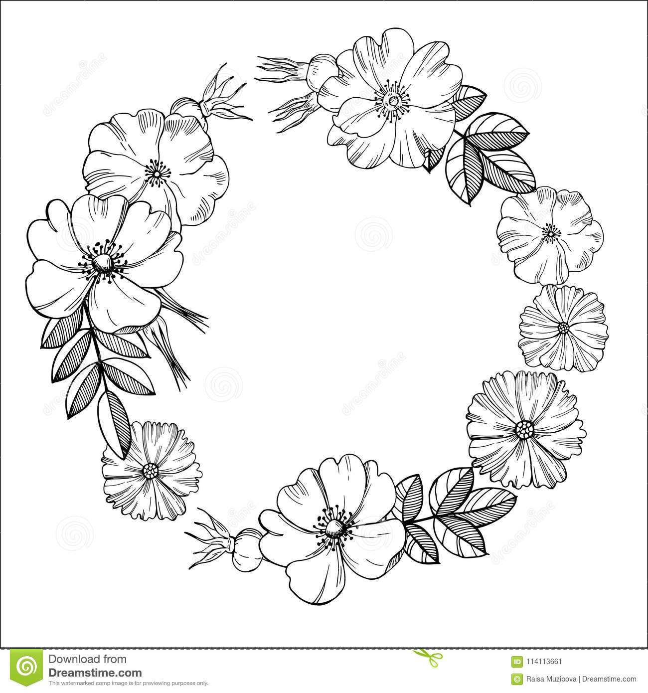 Floral wreath. Black-and-white drawing of flowers.Vector illu