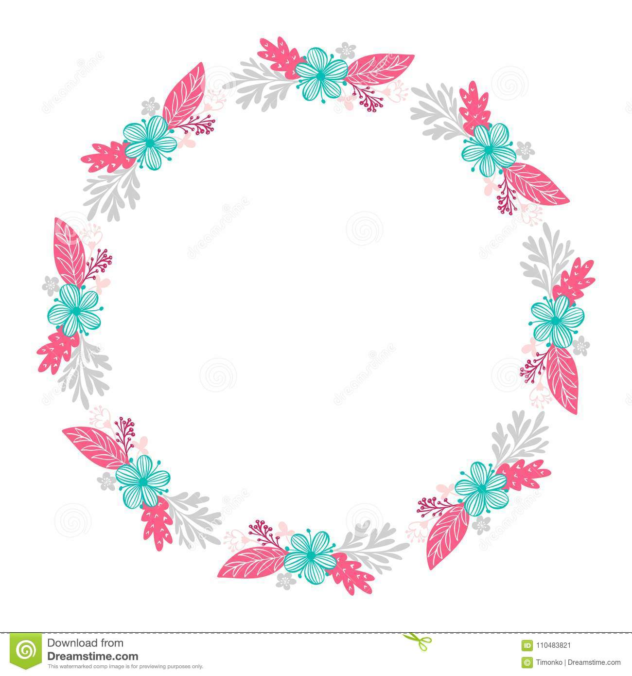 Floral wreath bouquet flowers Botanical elements isolated on white background in Scandinavian style. Hand drawn vector