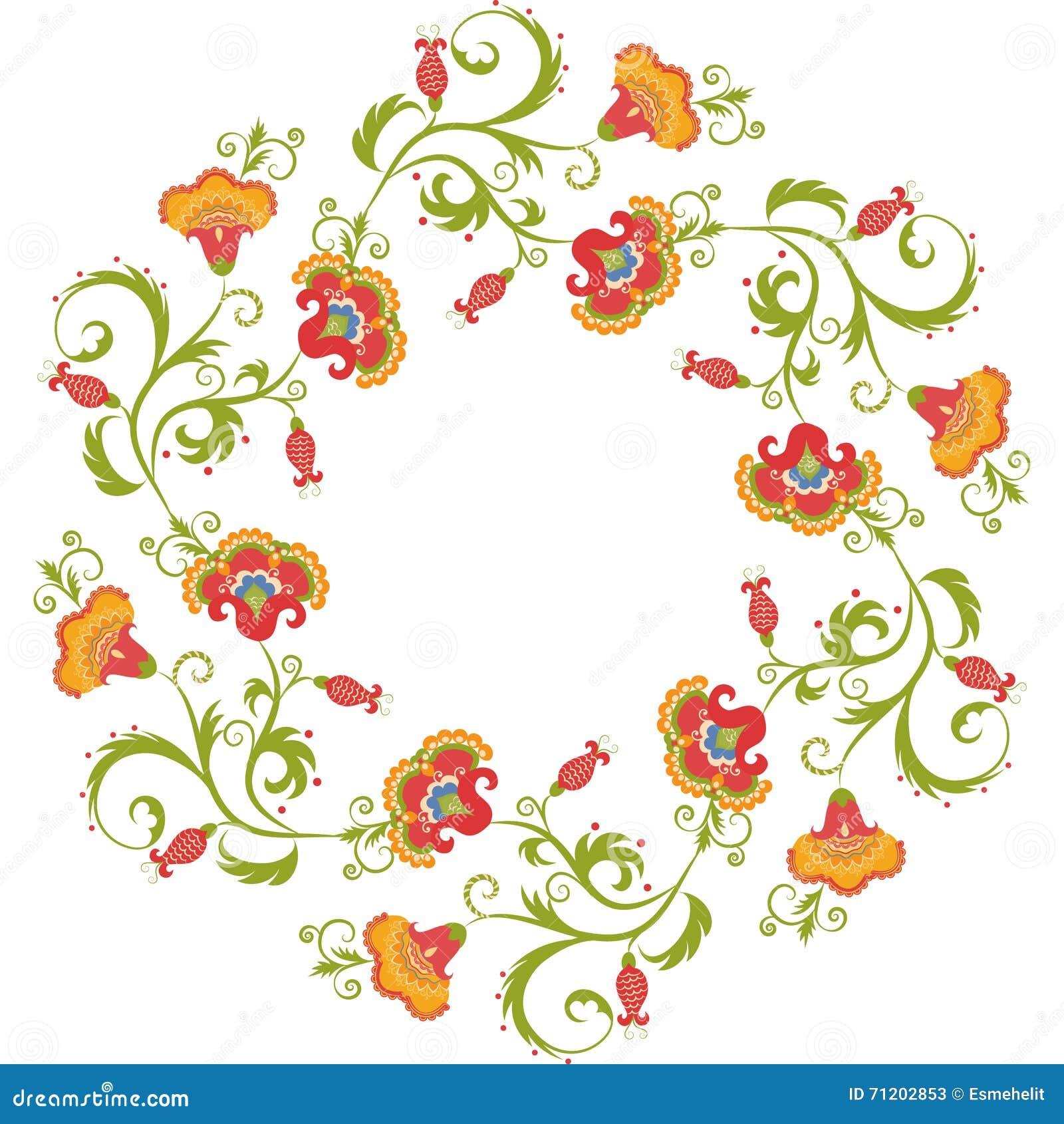 Floral Wreath. Flower Border Frame Indian Theme Stock Vector ...