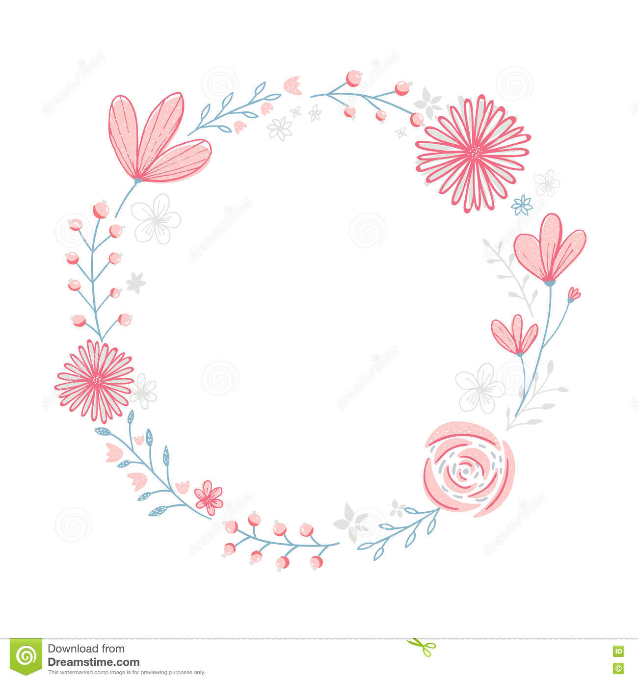 floral wreath frame with copyspace hand drawn pastel pink flowers rh dreamstime com Pastel Spring Flowers Border Pastel Flowers