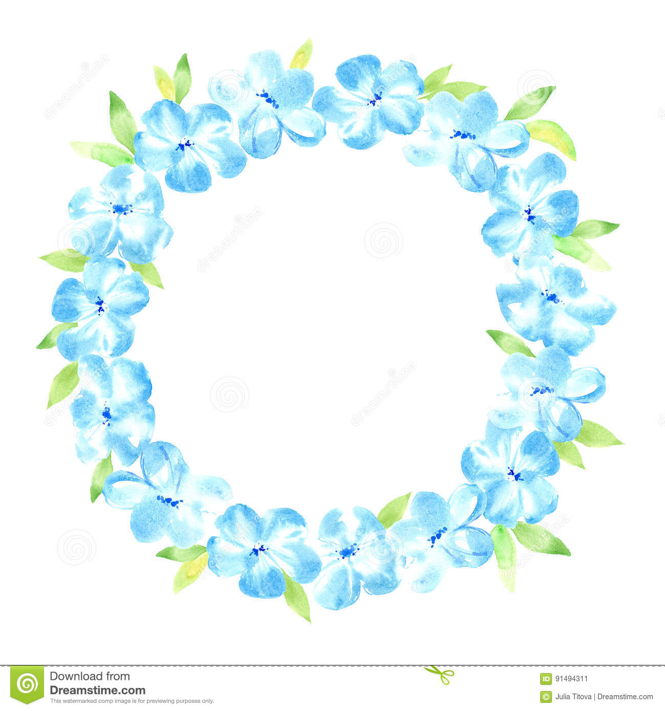 Floral wreathrland with blue flower and leaves stock floral wreathrland with blue flower and leaves izmirmasajfo