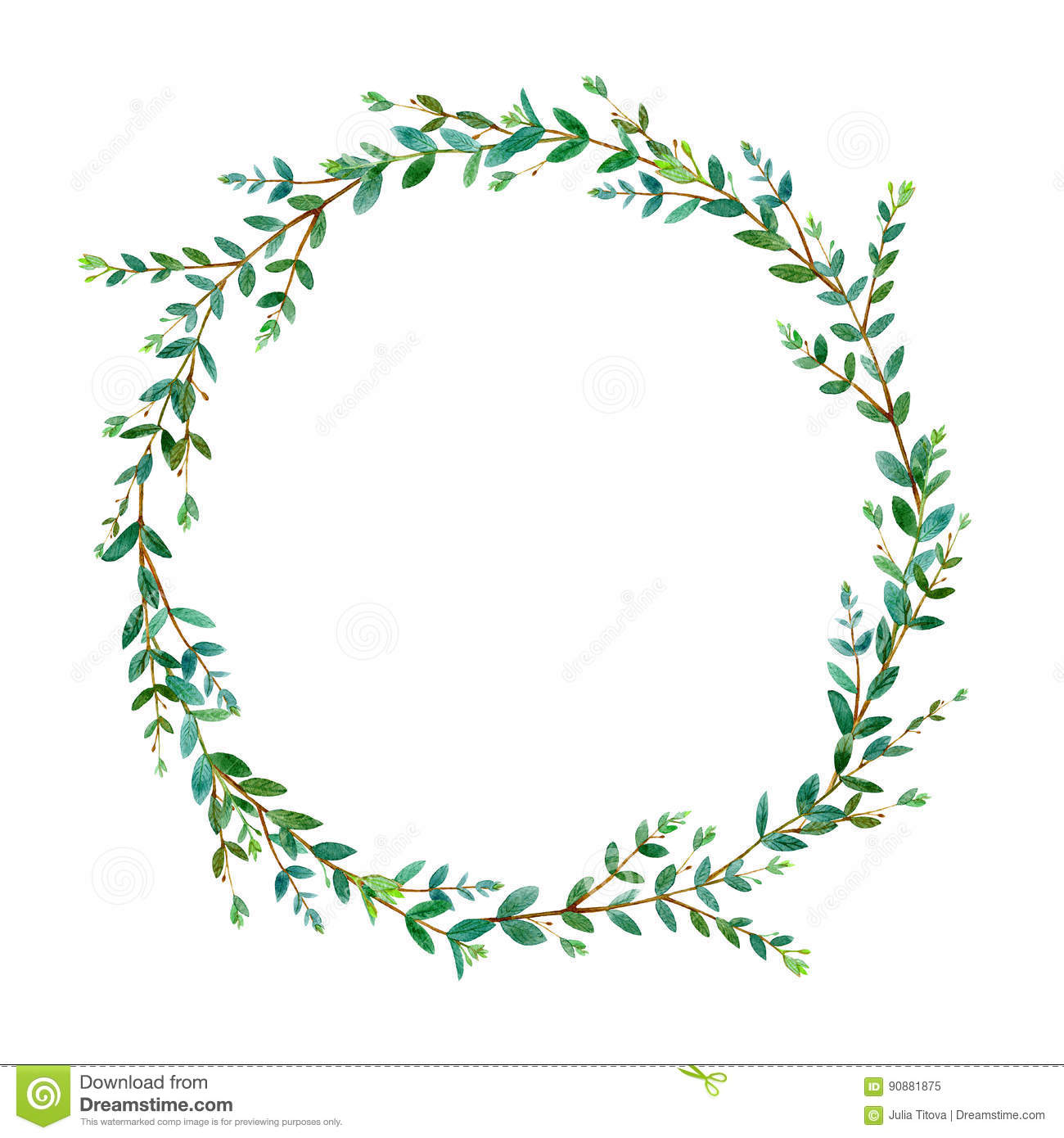 Floral Wreath Garland Of A Eucalyptus Branches Frame Of A