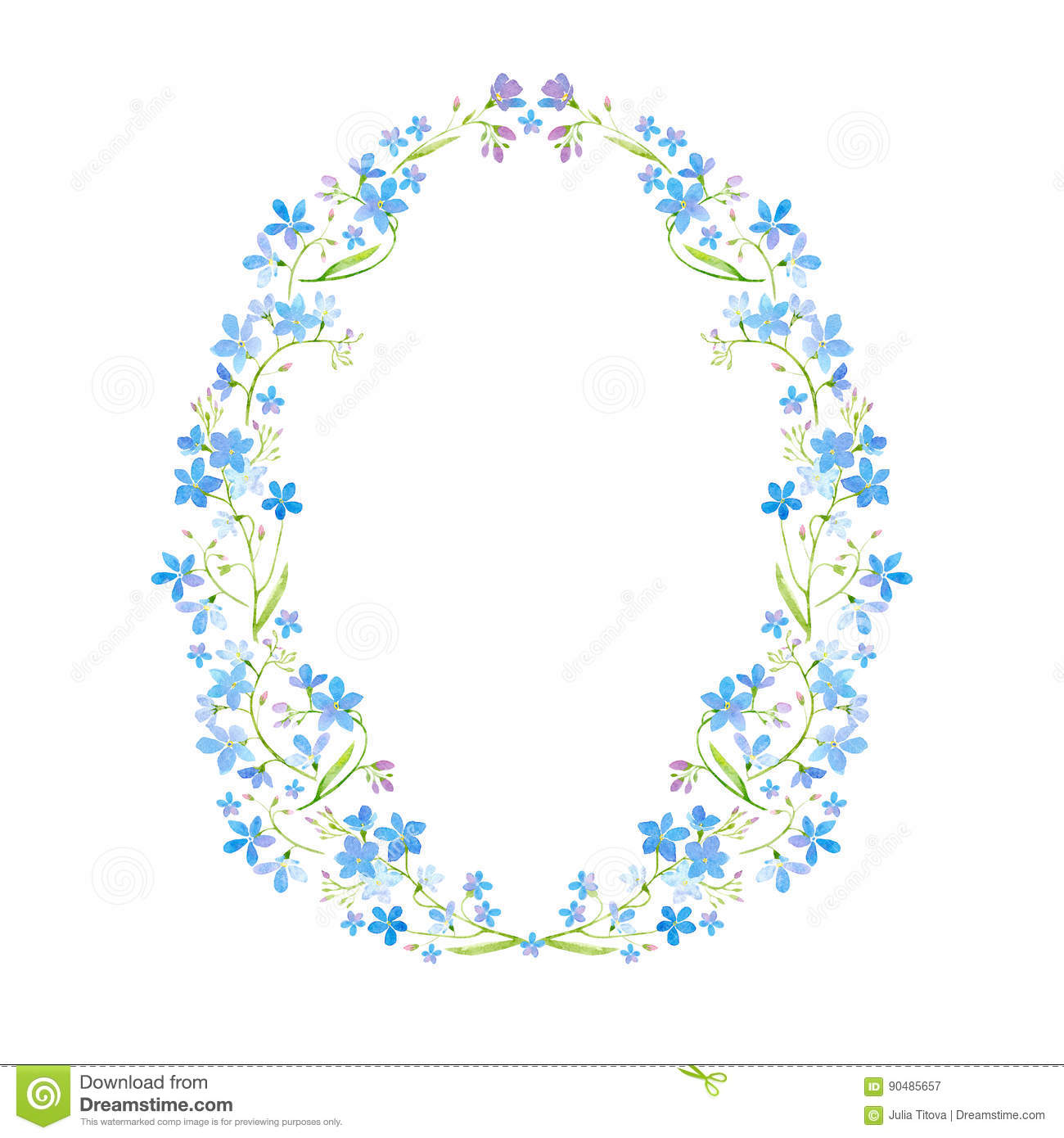 Floral Wreath Garland With Forget Me Not Flower Stock