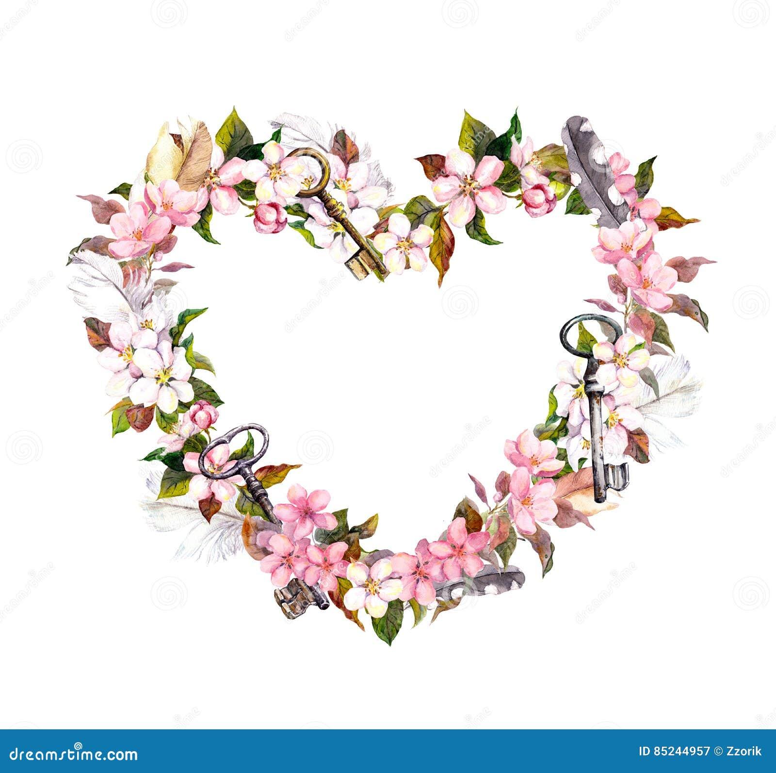 Floral wreath heart shape pink flowers feathers keys floral wreath heart shape pink flowers feathers keys watercolor for valentine mightylinksfo