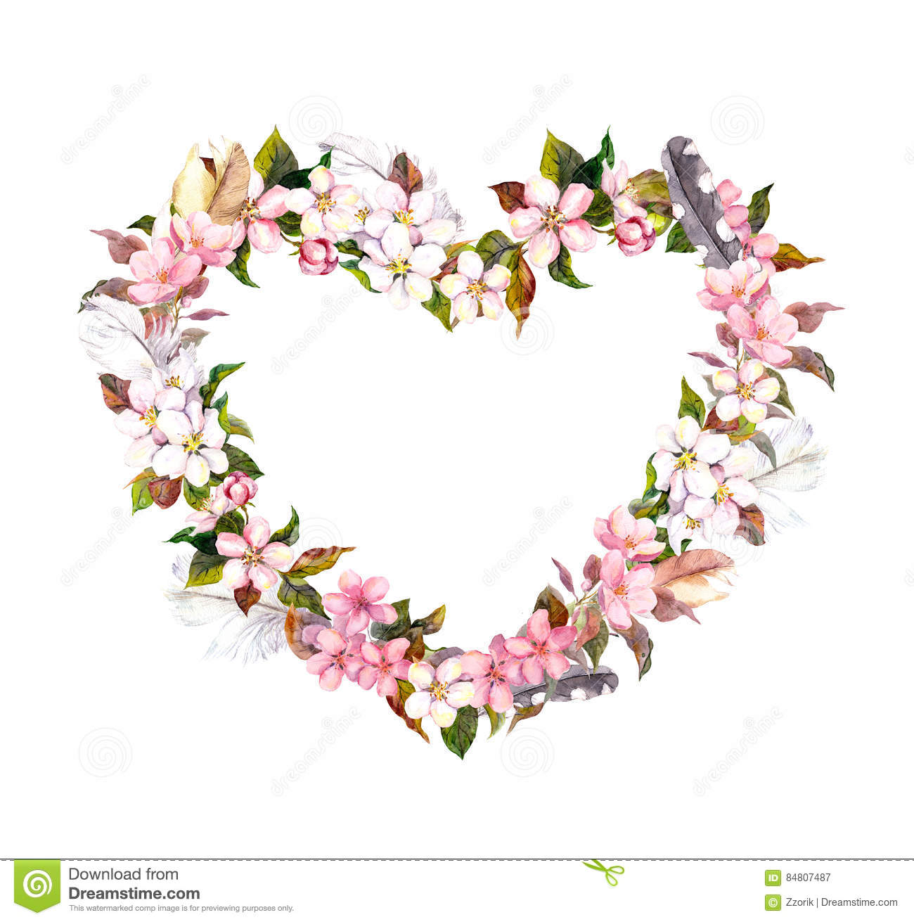 Floral Wreath Heart Shape Pink Flowers And Feathers Watercolor