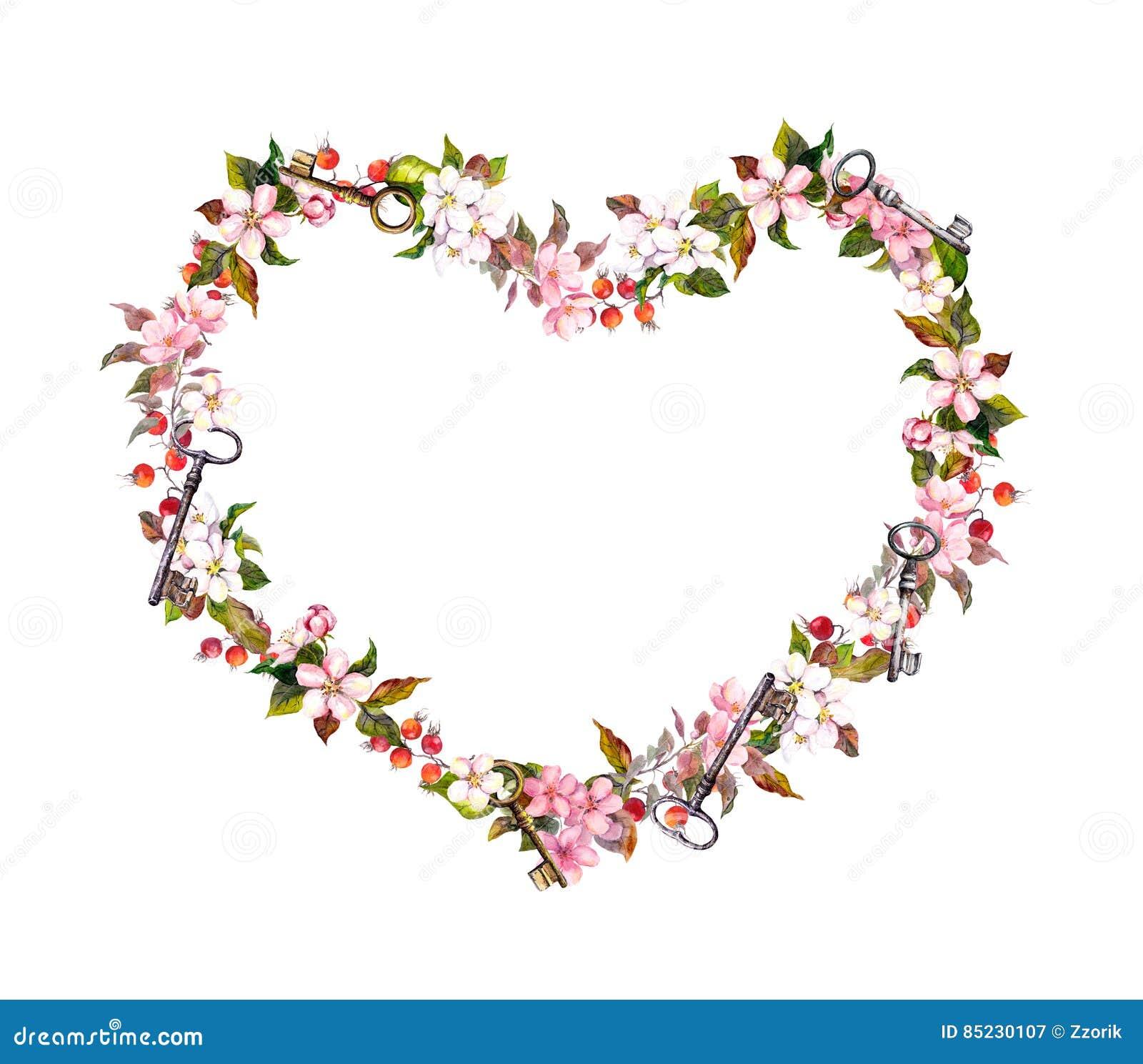 Floral wreath heart shape pink flowers hearts keys watercolor pink flowers hearts keys watercolor for valentine mightylinksfo