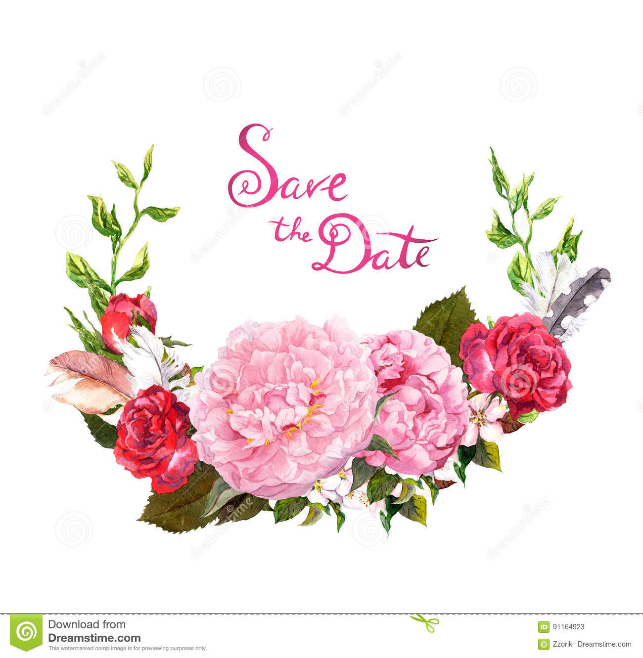 Save On Wedding Flowers: Peony, Roses Flowers. Save Date Card For