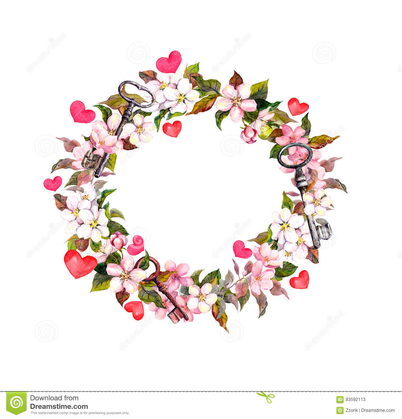Floral Wreath With Pink Flowers Feathers Hearts Keys Watercolor