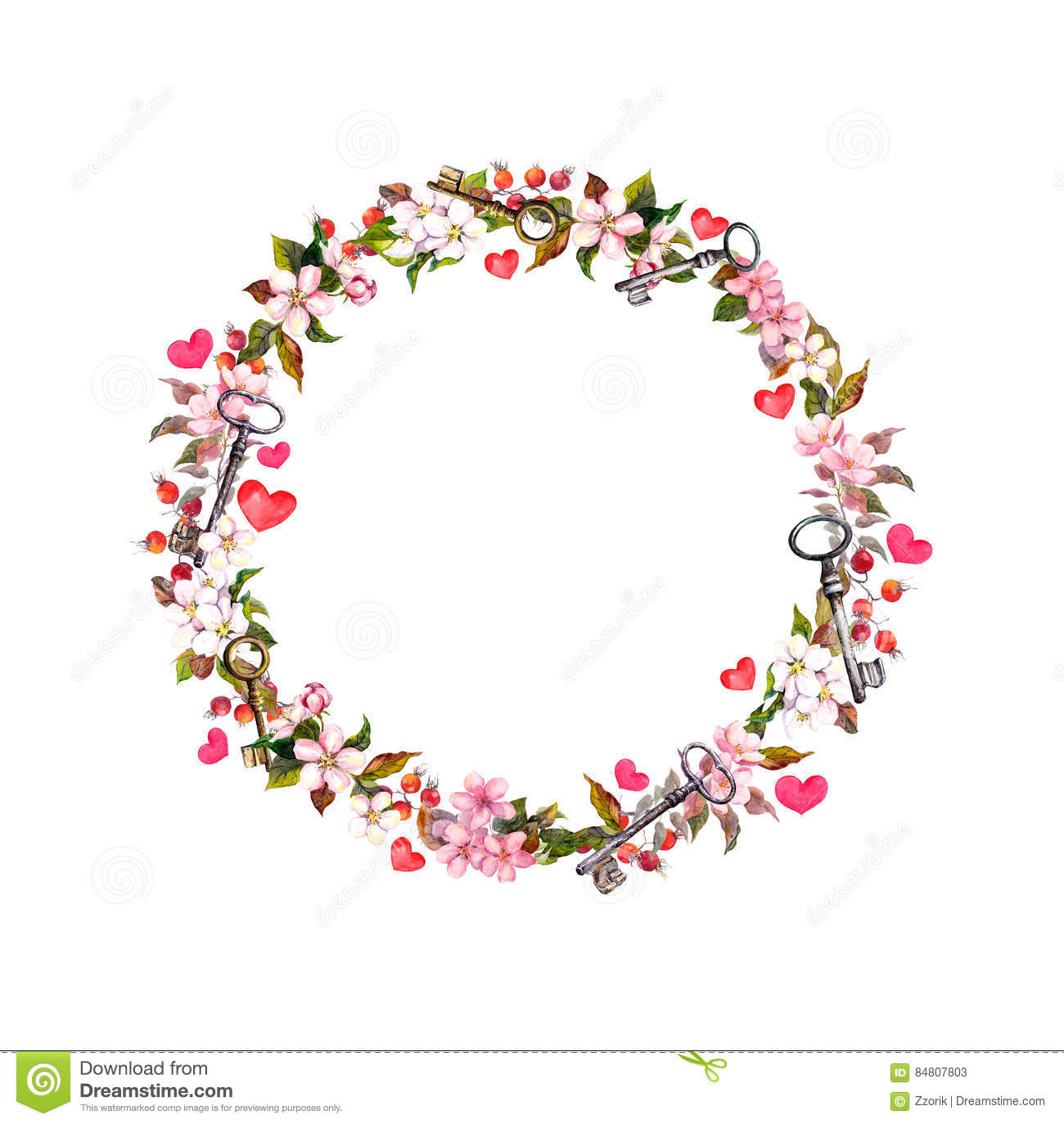 Floral wreath with pink flowers hearts keys watercolor circle download floral wreath with pink flowers hearts keys watercolor circle border for valentine mightylinksfo