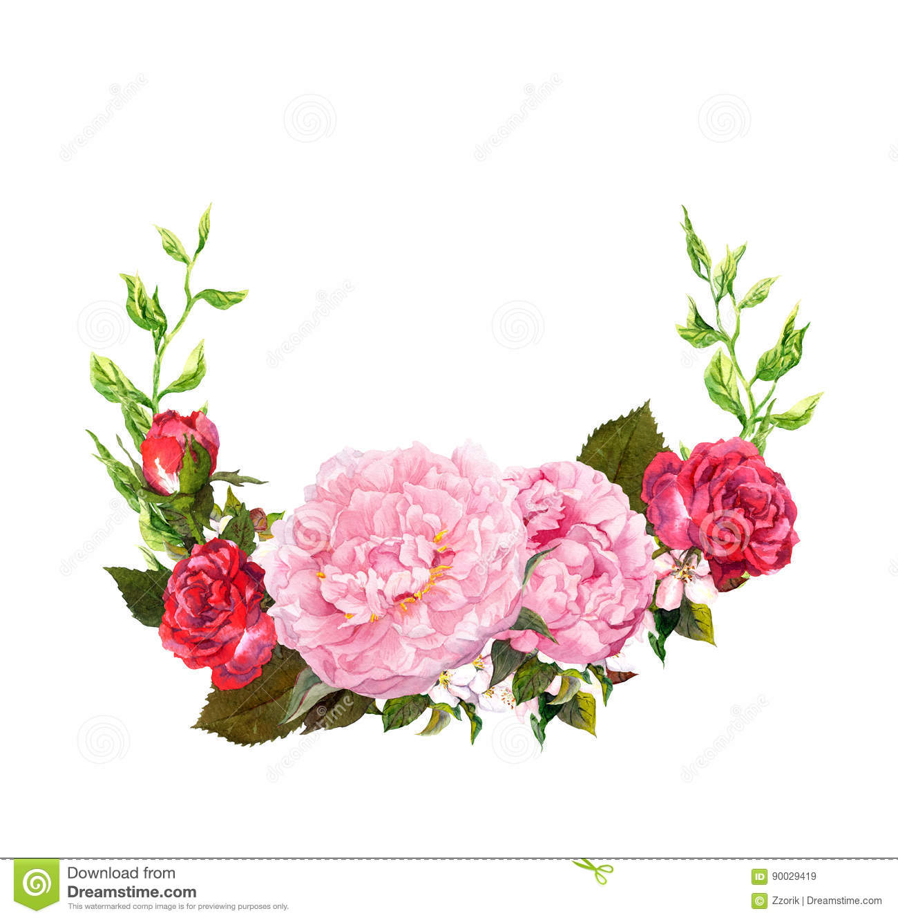 Floral Wreath With Pink Peony Flowers, Red Roses. Save