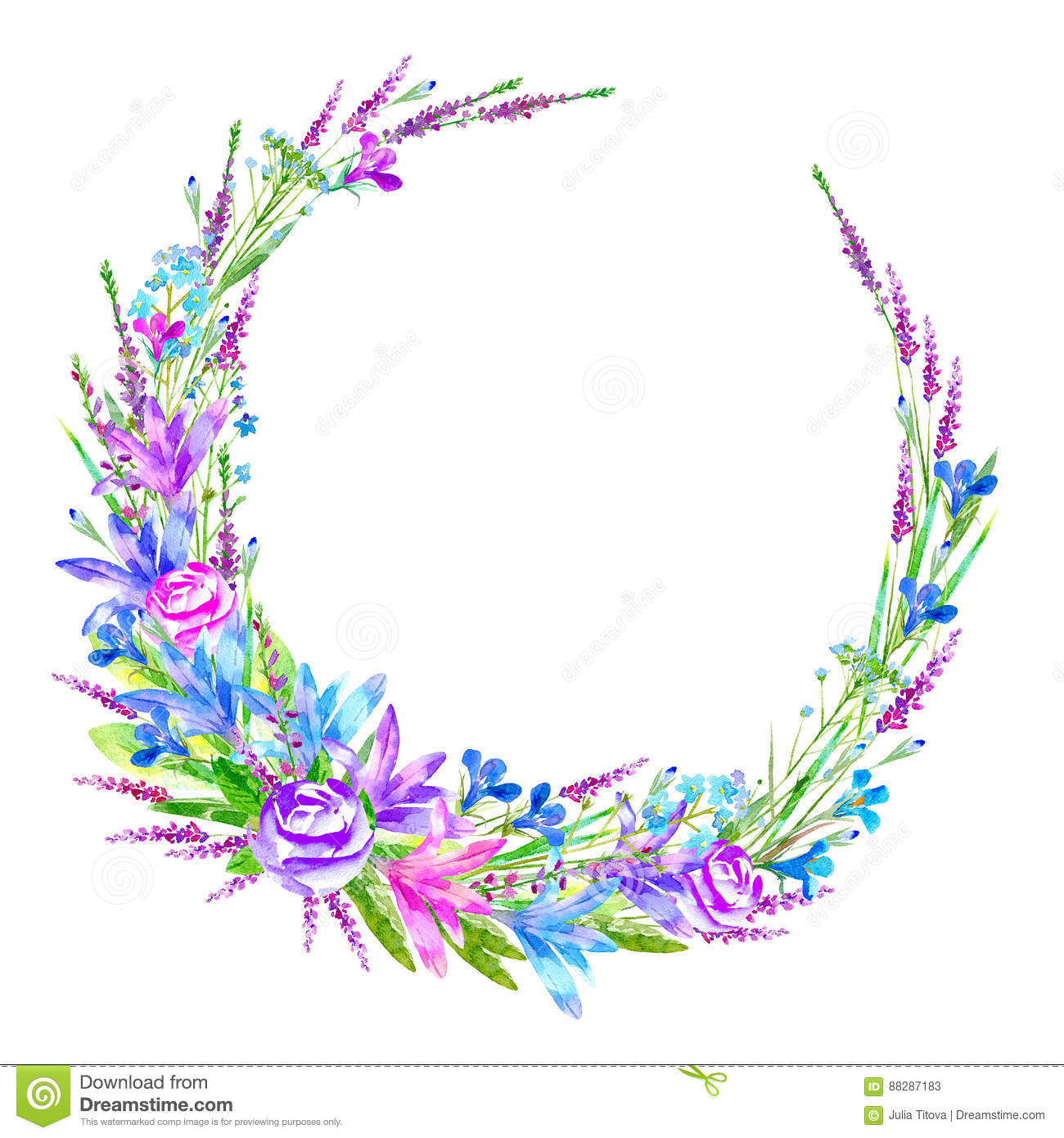 Wreath With Bluebell Herbs Poppy Tansy Clover Floral