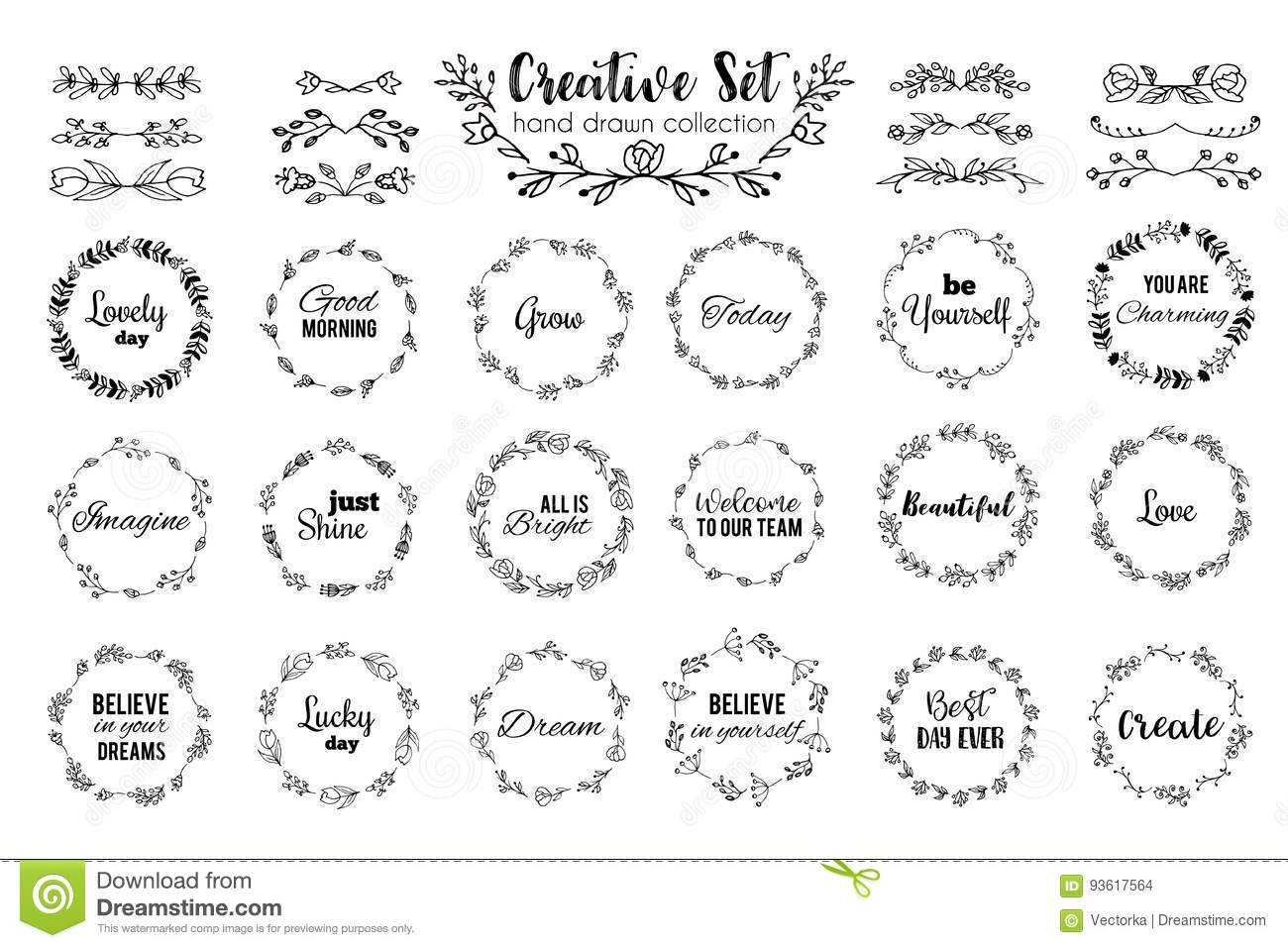 Floral wreath set. Hand drawn flourish frames. Dividers and borders. Herbal elements and flowers