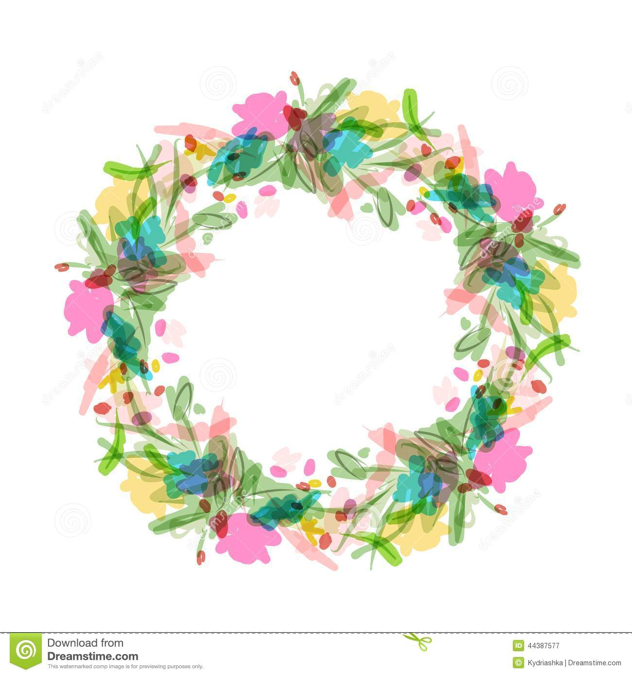 Floral Wreath Sketch For Your Design Stock Vector Illustration Of