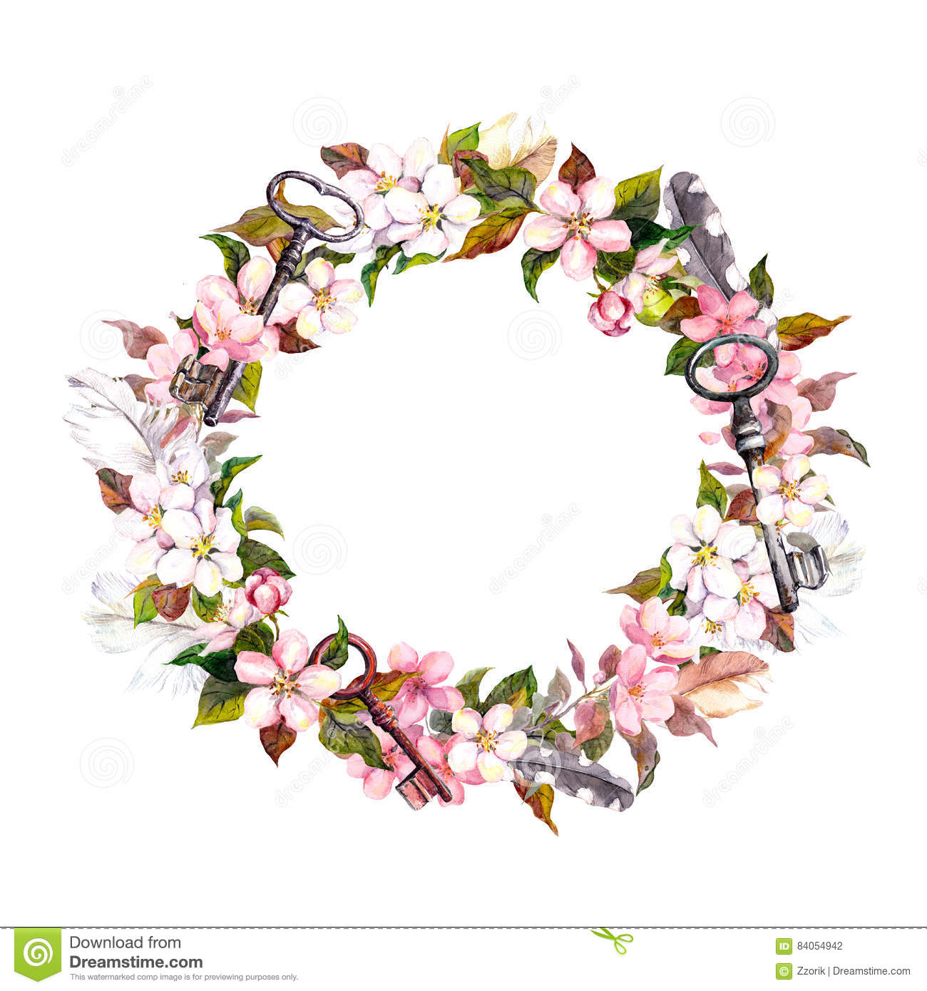 Floral Wreath With Spring Flowers Keys Watercolor Round