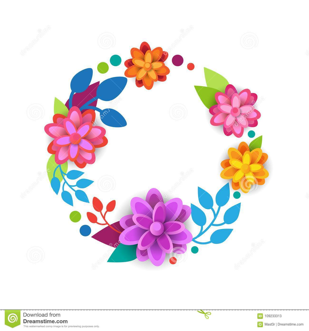 Floral Wreath Spring Graphic Design Element With Colorful Flowers On