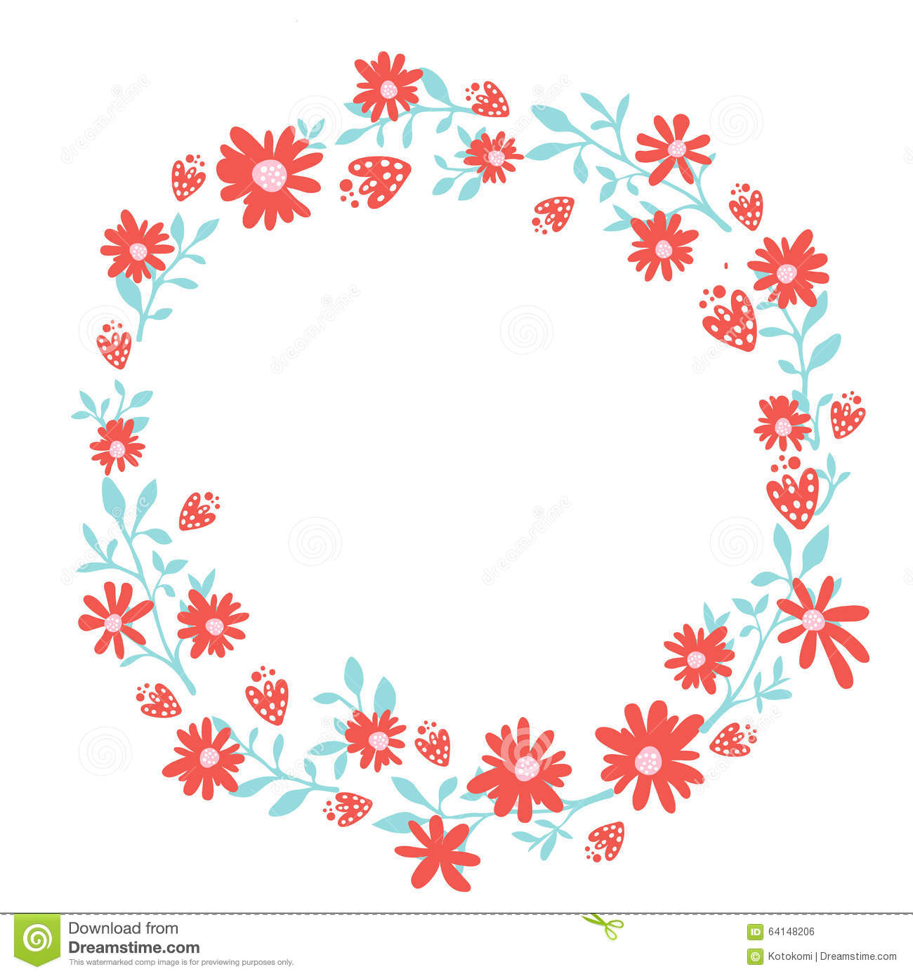 Floral Wreath Spring Hand Drawn Frame With