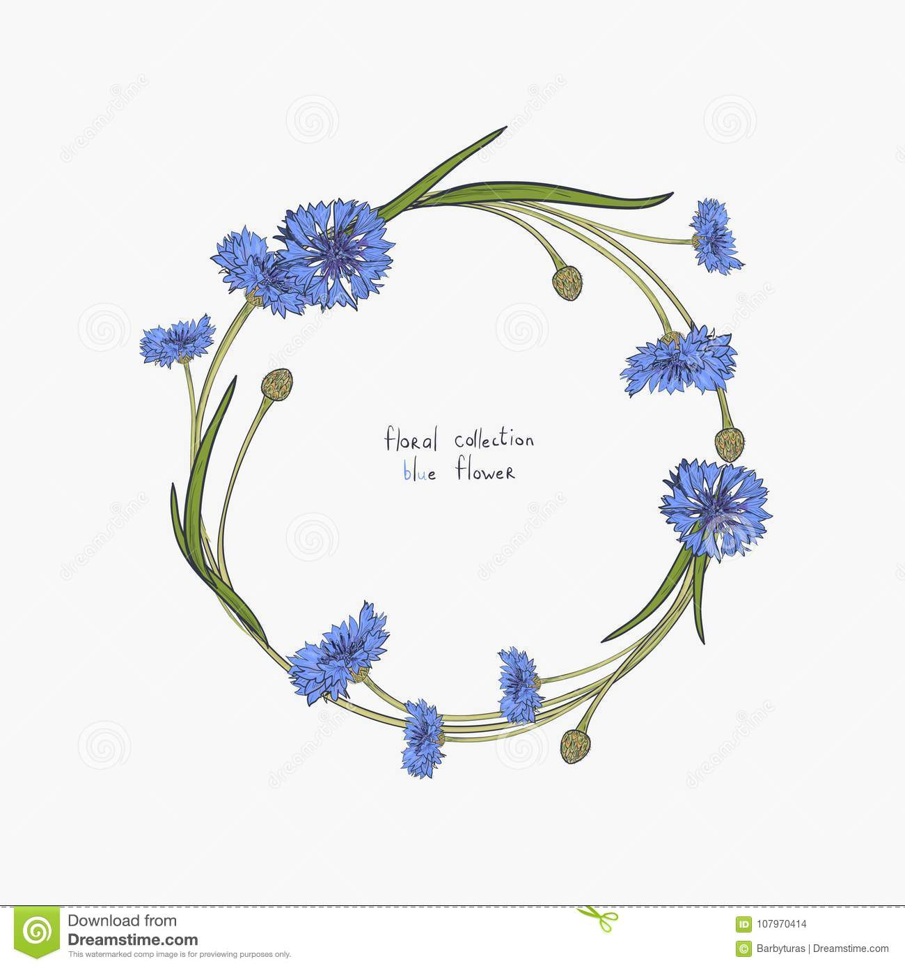 Floral wreath with stylized blue flowers of cornflowers and green download floral wreath with stylized blue flowers of cornflowers and green leaves stock illustration illustration izmirmasajfo