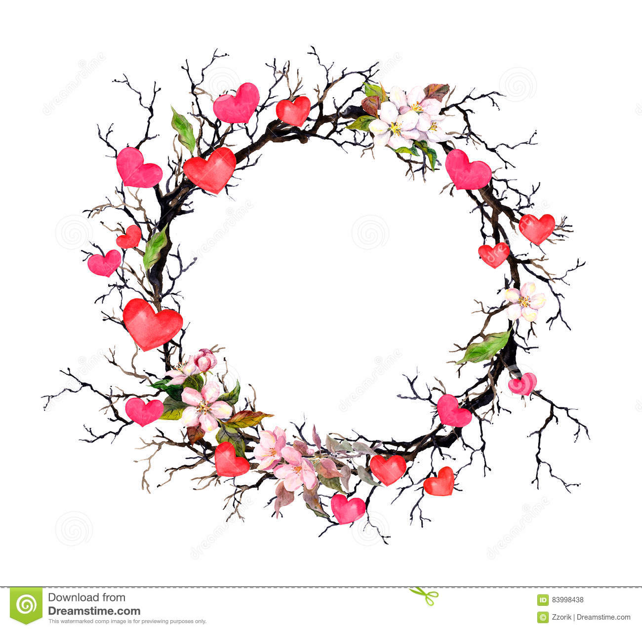 Floral Wreath Twigs With Spring Flowers Hearts Watercolor intended for Free Clipart Flower Border Circle