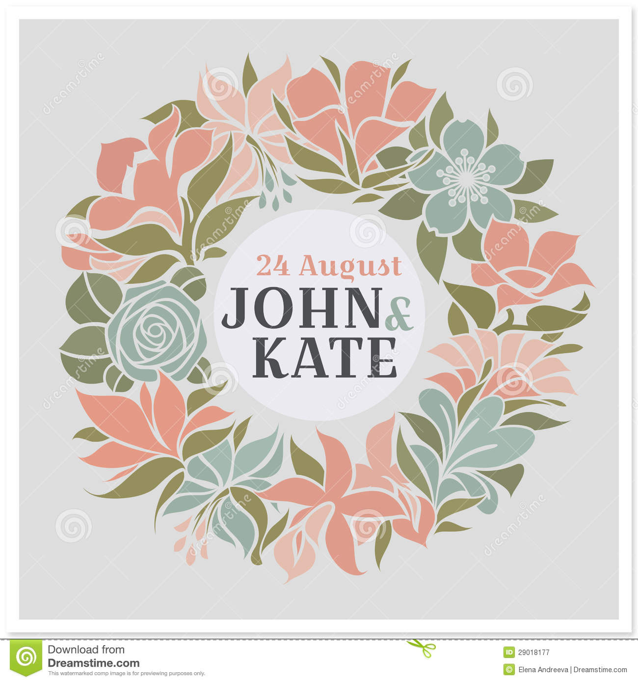 floral wreath vector wedding design stock vector illustration of