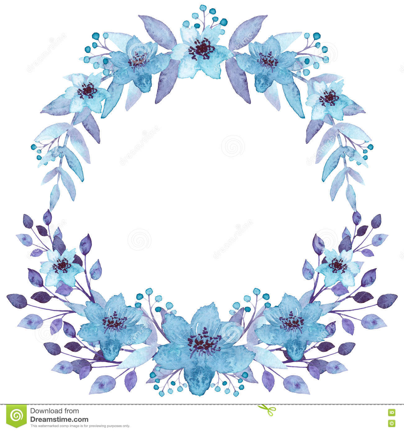 Floral Wreath With Watercolor Light Blue Flowers Stock ...
