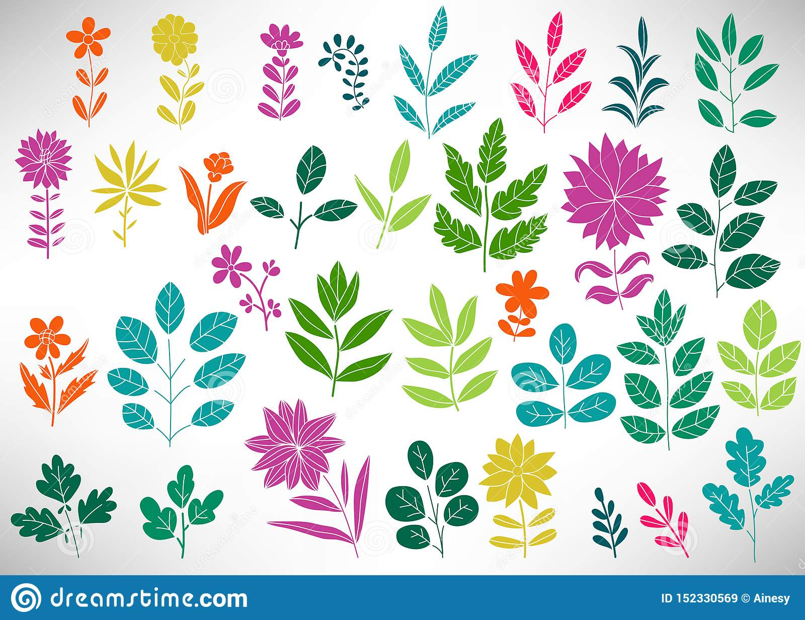Floral Set of colorful doodle elements, tree branch, bush, plant, leaves, flowers, branches petals isolated on white.