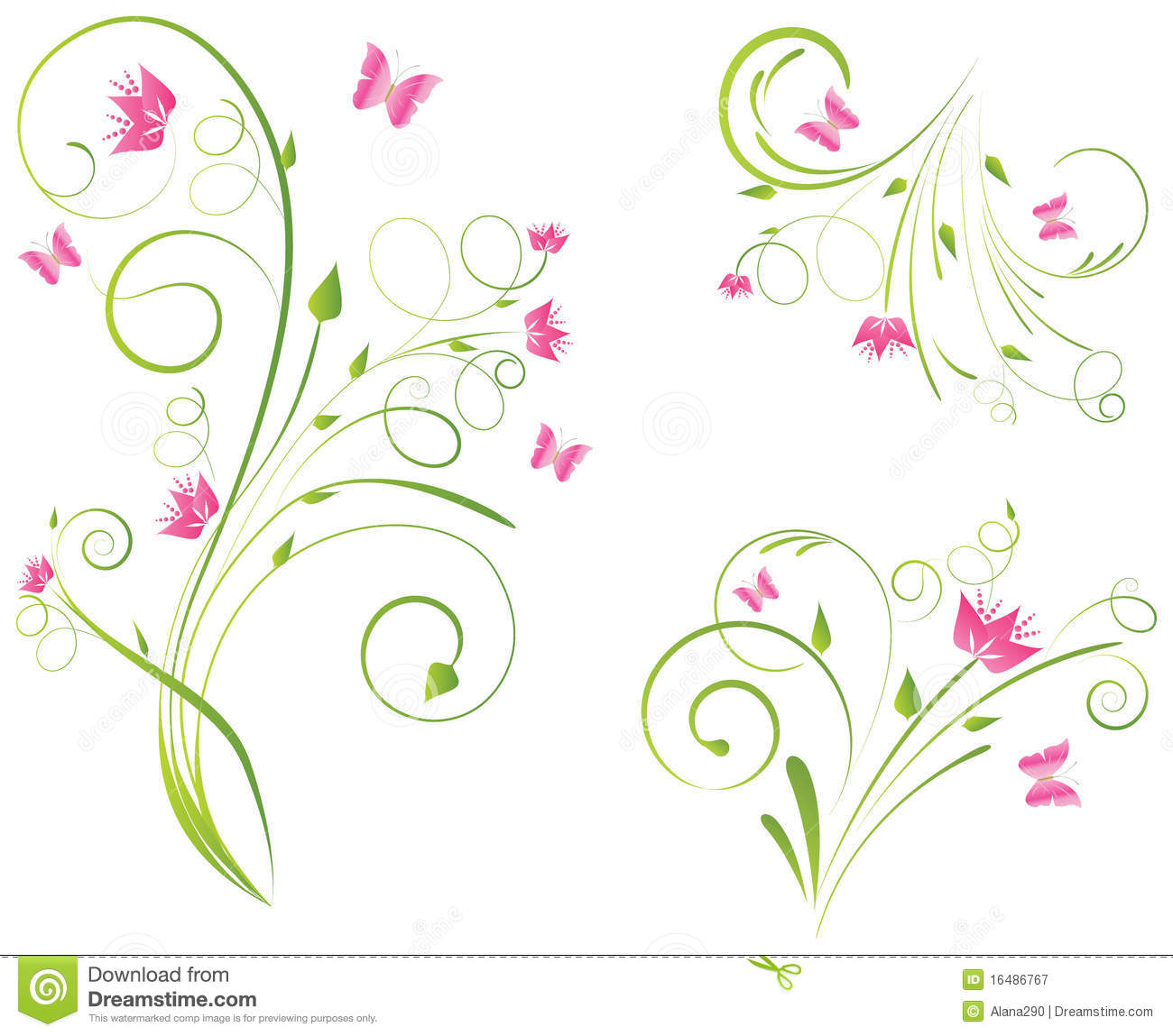 Florals designs and butterflies stock vector illustration of petal floral designs with pink flowers and butterflies mightylinksfo