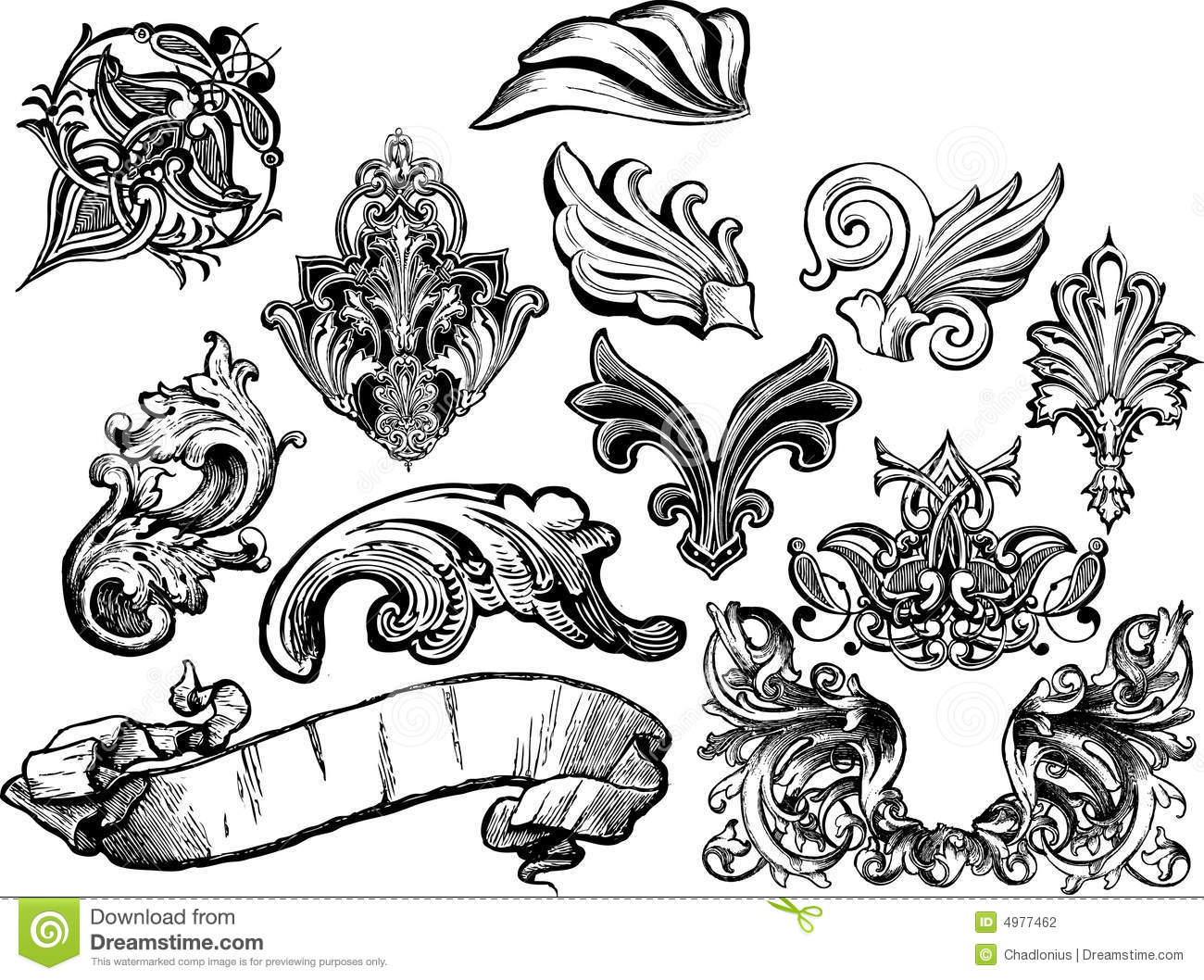 Florals And Scrolls Vector Set 1 Stock Photography  Image 4977462