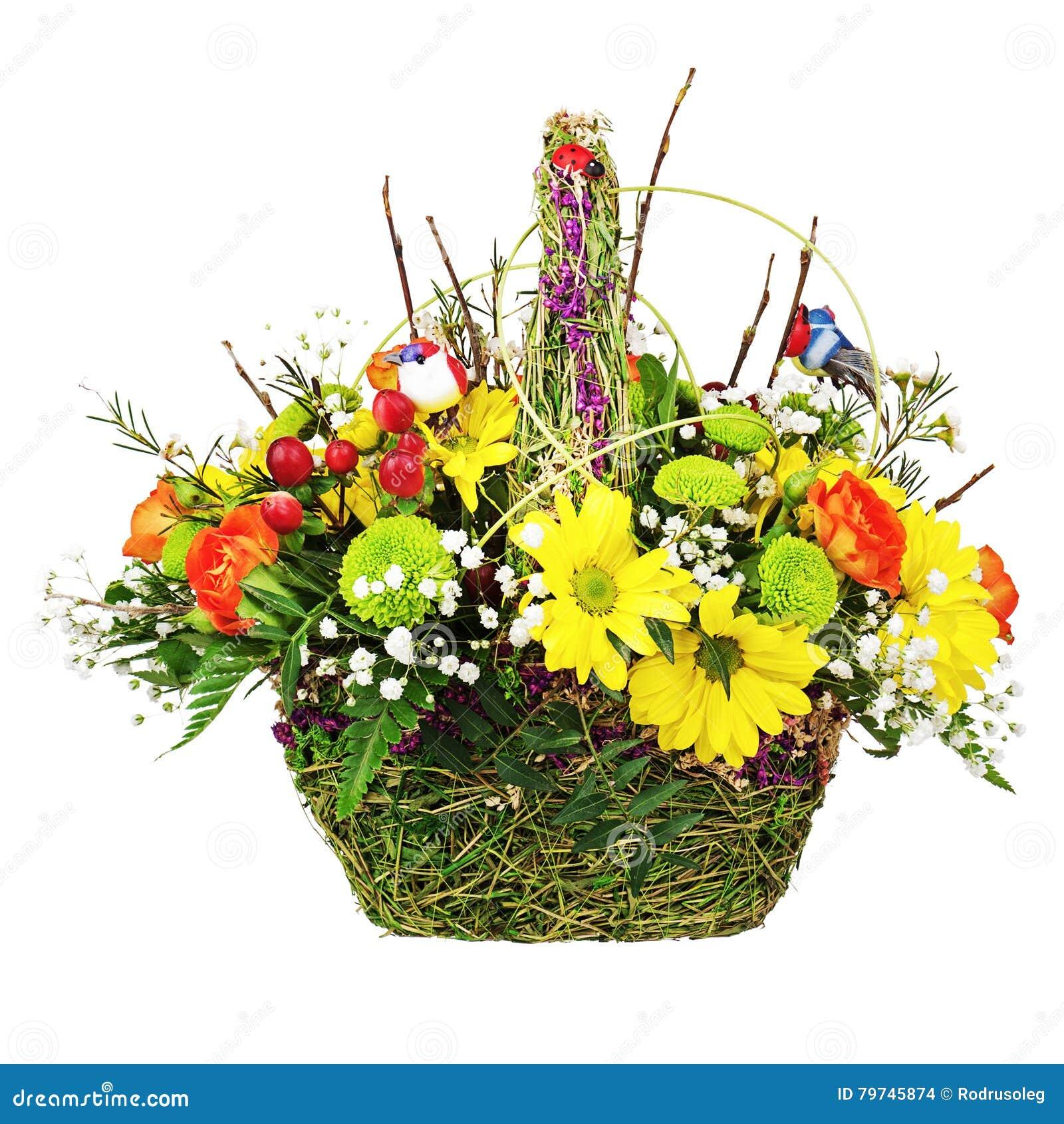 Florece la pieza central del arreglo del ramo en cesta de mimbre