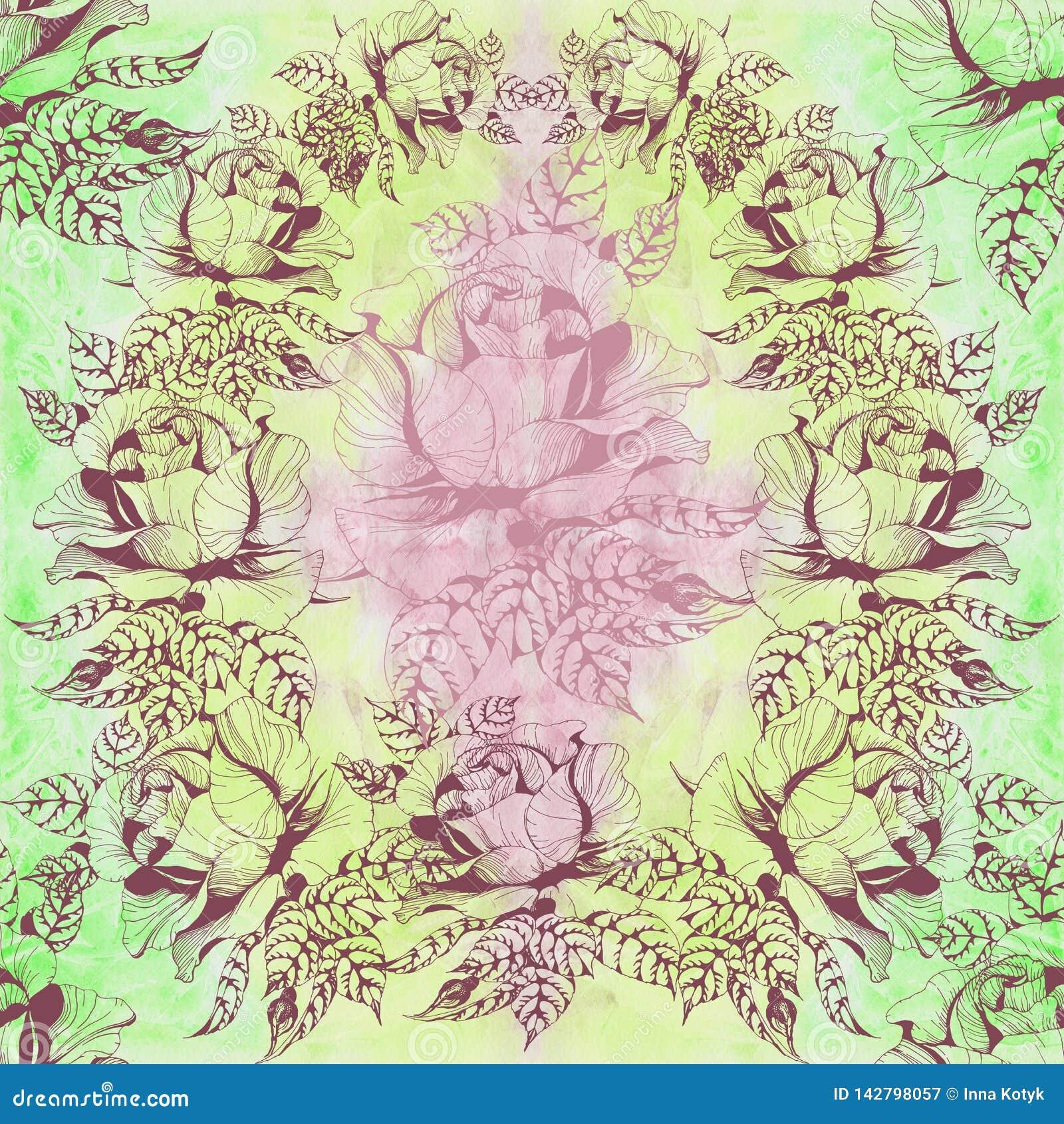 Florece la rama de A de rosas con las hojas, las flores y los brotes watercolor Fondo inconsútil Collage de flores y de hojas