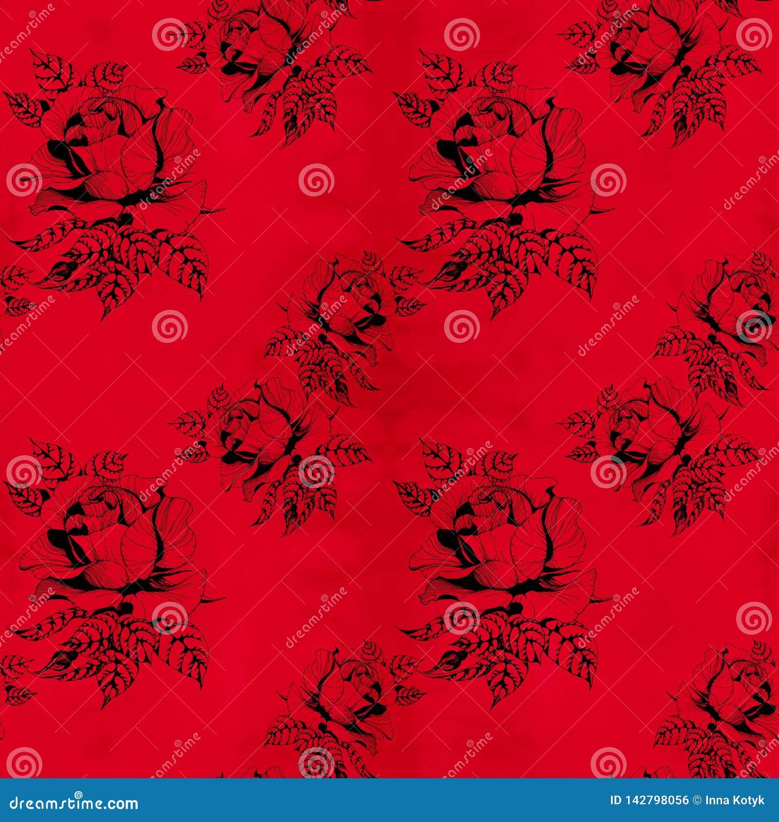 Florece la rama de A de rosas con las hojas, las flores y los brotes watercolor Fondo inconsútil Collage de flores y de hojas en