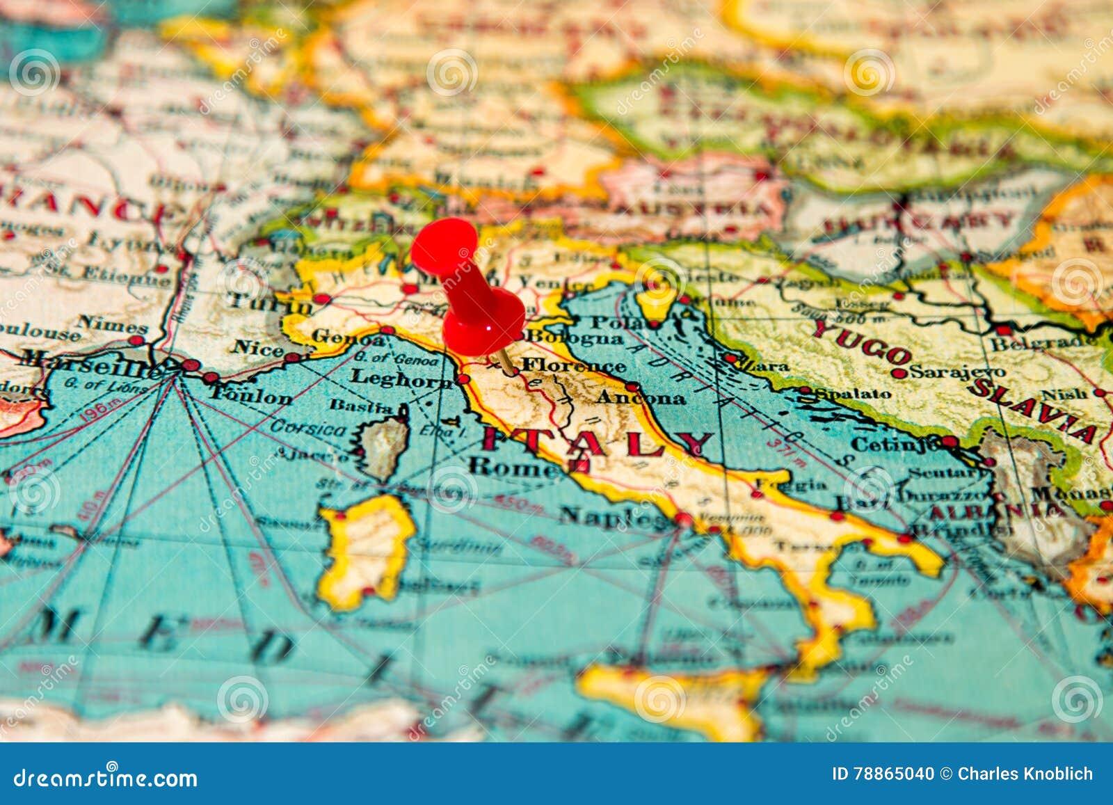 Florenca Italia Fixou No Mapa Do Vintage De Europa Foto De Stock