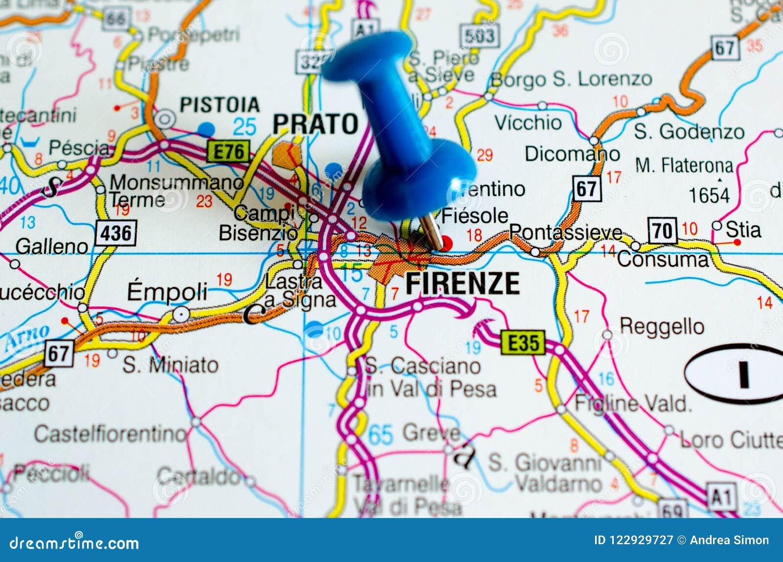 Florenca No Mapa Imagem De Stock Imagem De Mapa Atlas 122929727