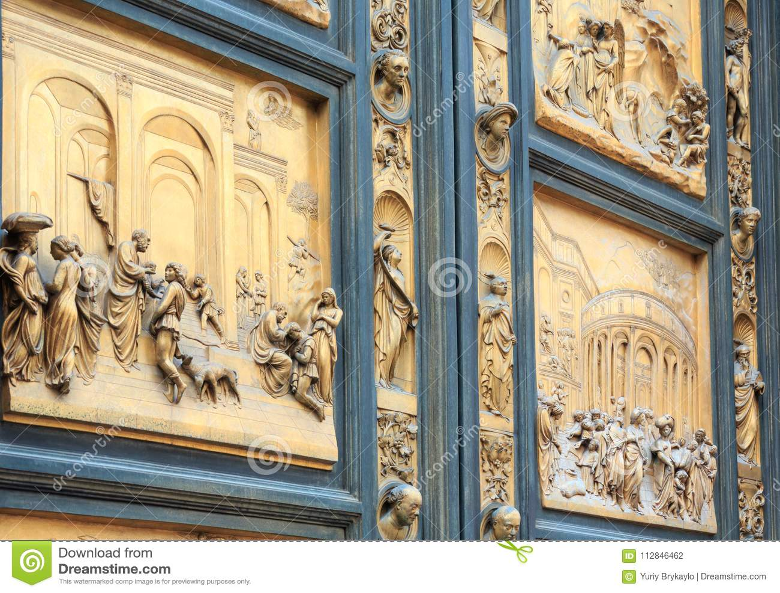 Florence Cathedral Gates van Paradijsfragment, Toscanië, Italië