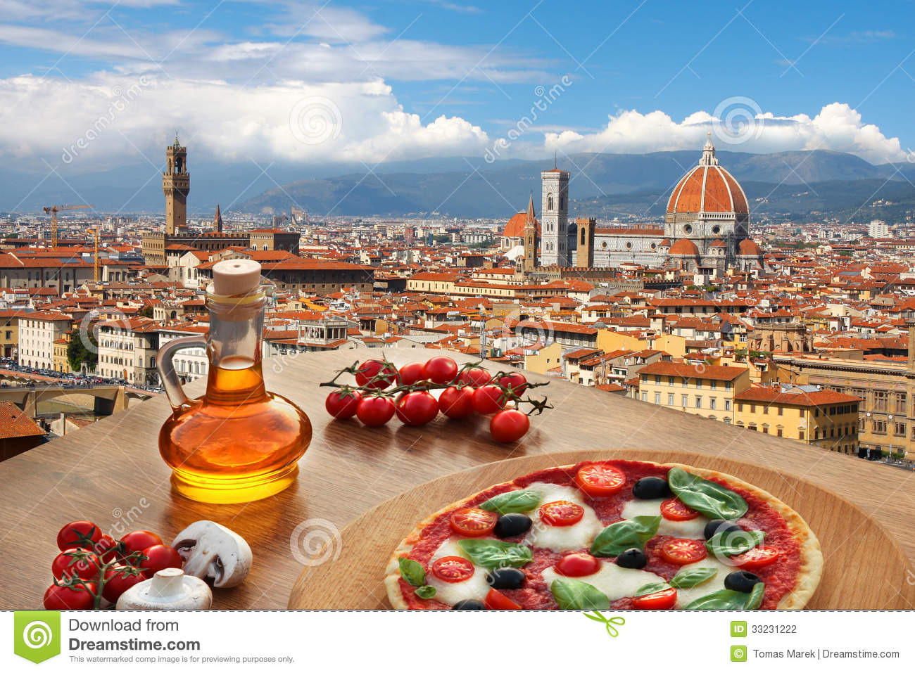 Florence cathedral with pizza in Italy