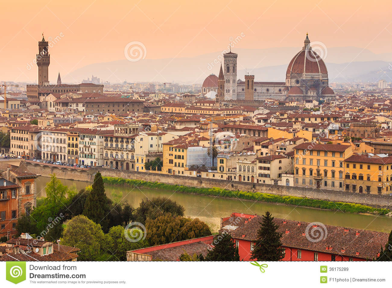 City Of Florence: Florence City During Sunset Stock Image