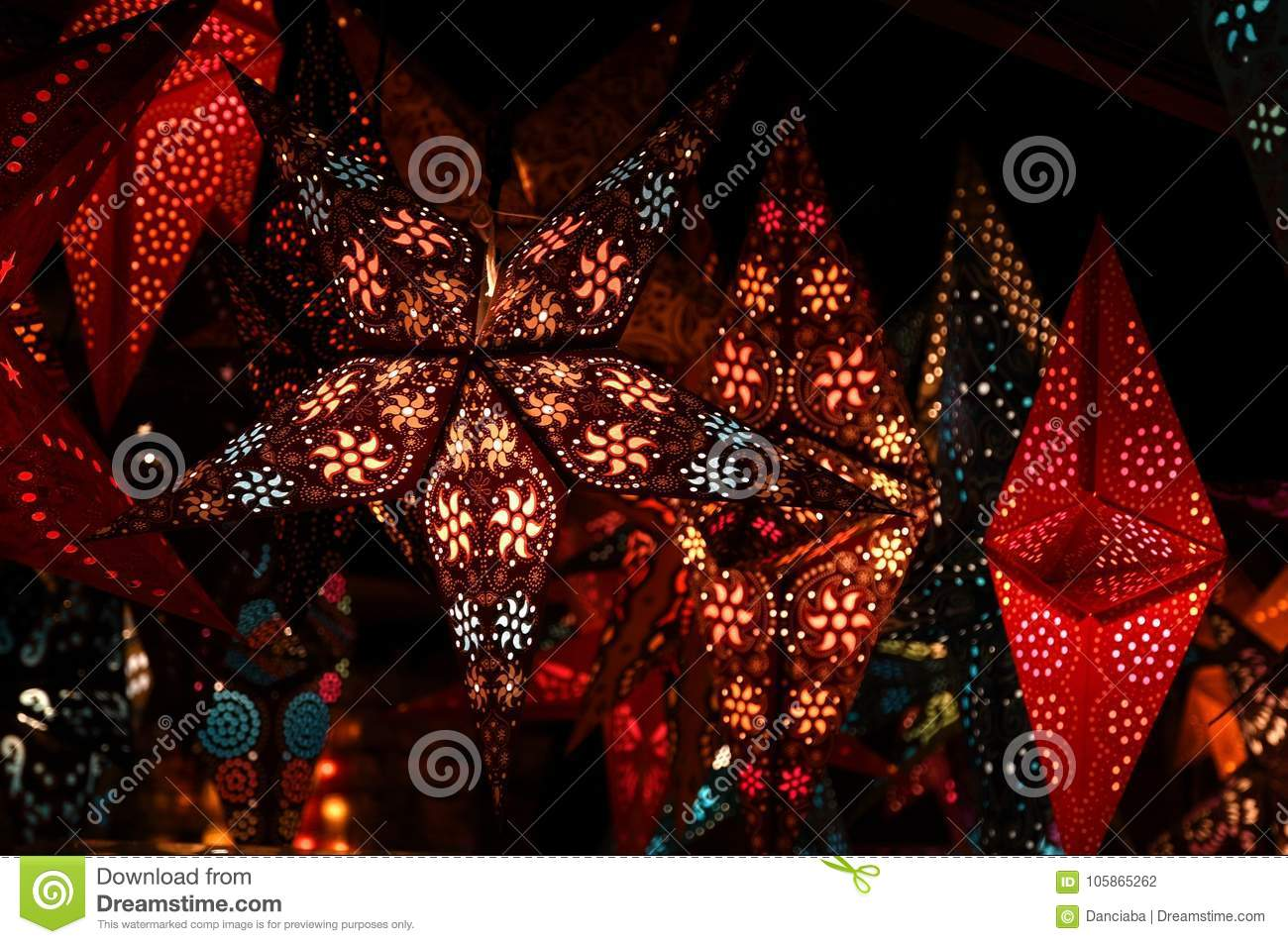 florence 2 december 2017 christmas decorations in a christmas market italy